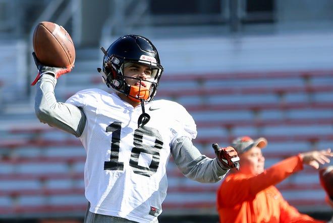 Oregon State University wide receiver Anthony Gould (18) practices at Oregon State University in Corvallis on April 9, 2019. Gould is a West Salem High School alumnus.