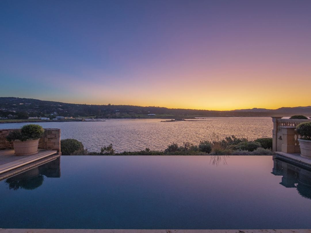 An infinity pool gazes out over Monterey Bay.