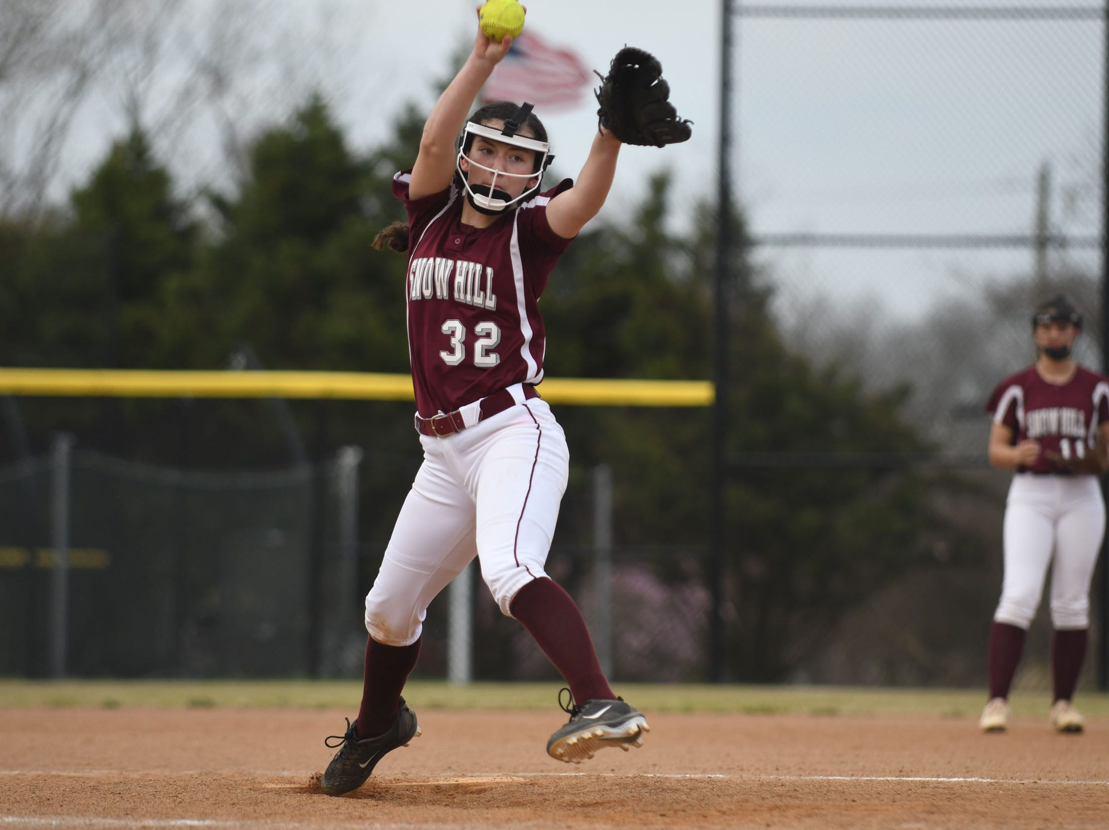 Snow Hill's Lilly Covington on the mound against Mardela on Monday, April 8, 2019 in Snow Hill, Md.