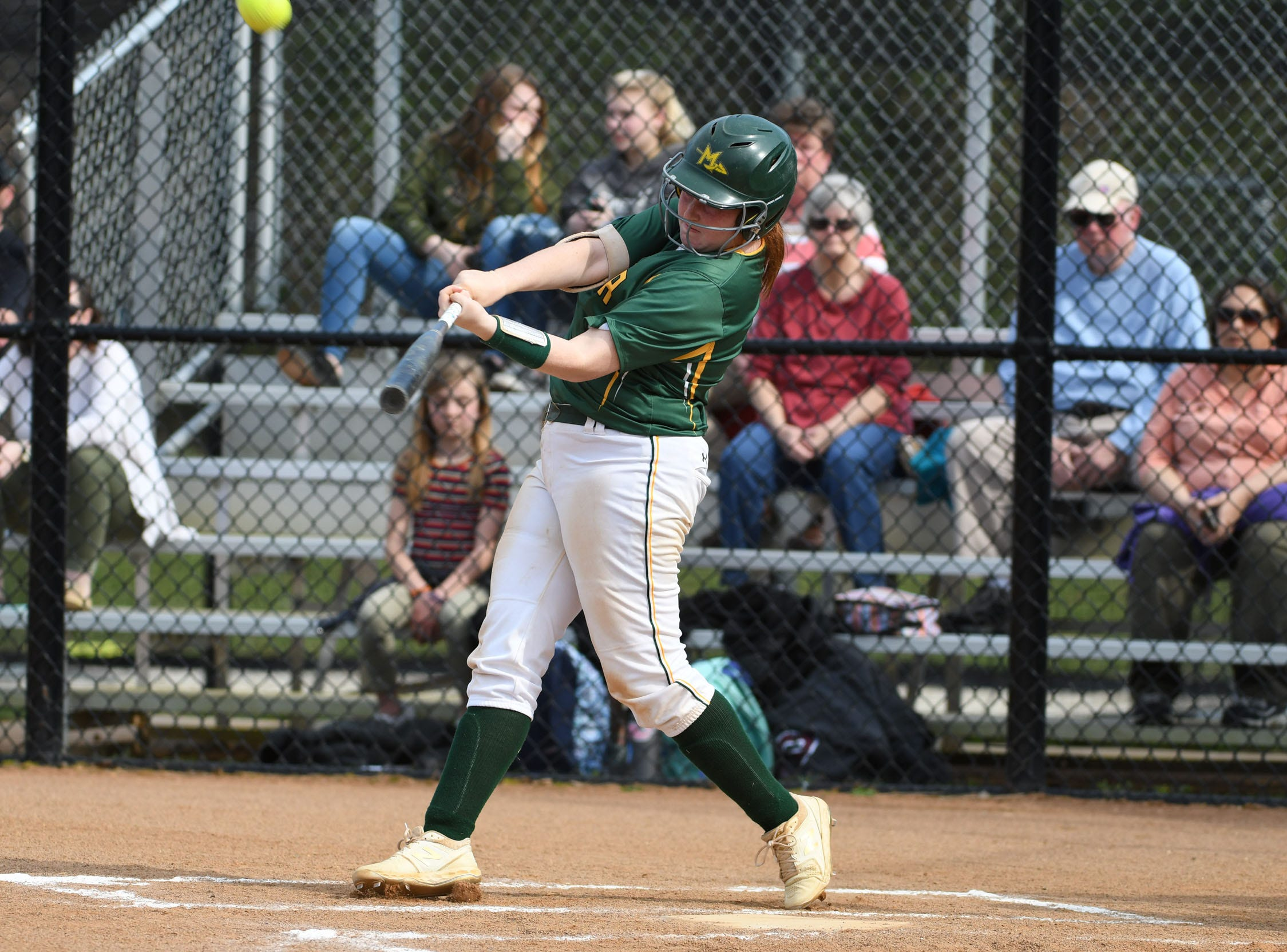 Mardela's Riley Niblett with a hit against Snow Hill on Monday, April 8, 2019 in Snow Hill, Md.