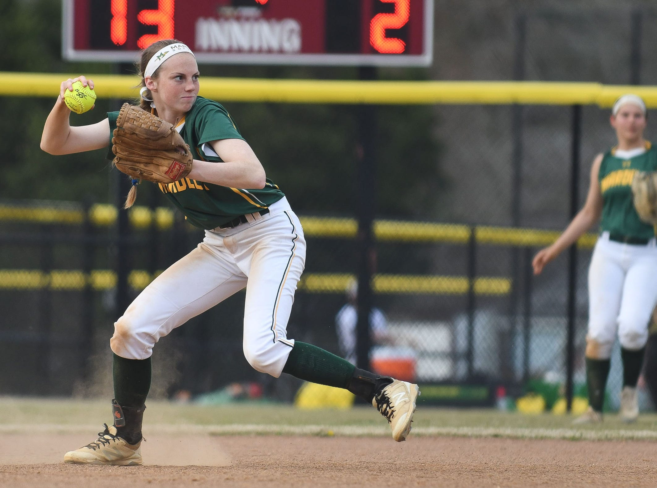 Mardela's Alexa Jones with the throw to first against Snow Hill on Monday, April 8, 2019 in Snow Hill, Md.