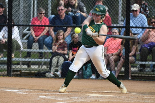 Mardela's Grace Barnes with a hit against Snow Hill on Monday, April 8, 2019 in Snow Hill, Md.