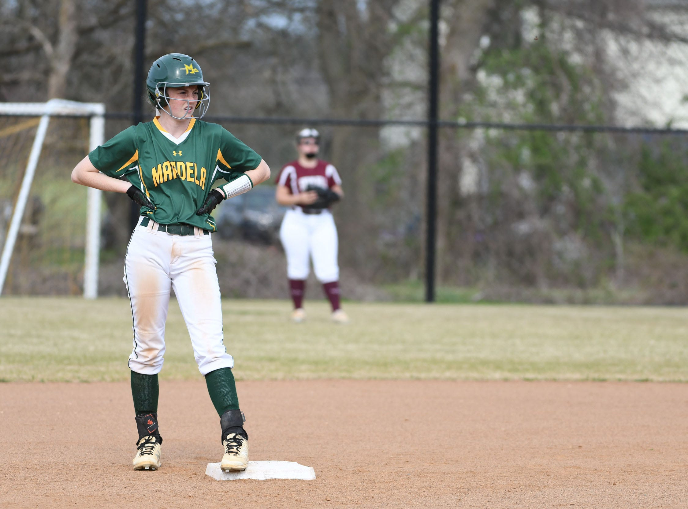 Mardela's Alexa Jones on second against Snow Hill on Monday, April 8, 2019 in Snow Hill, Md.