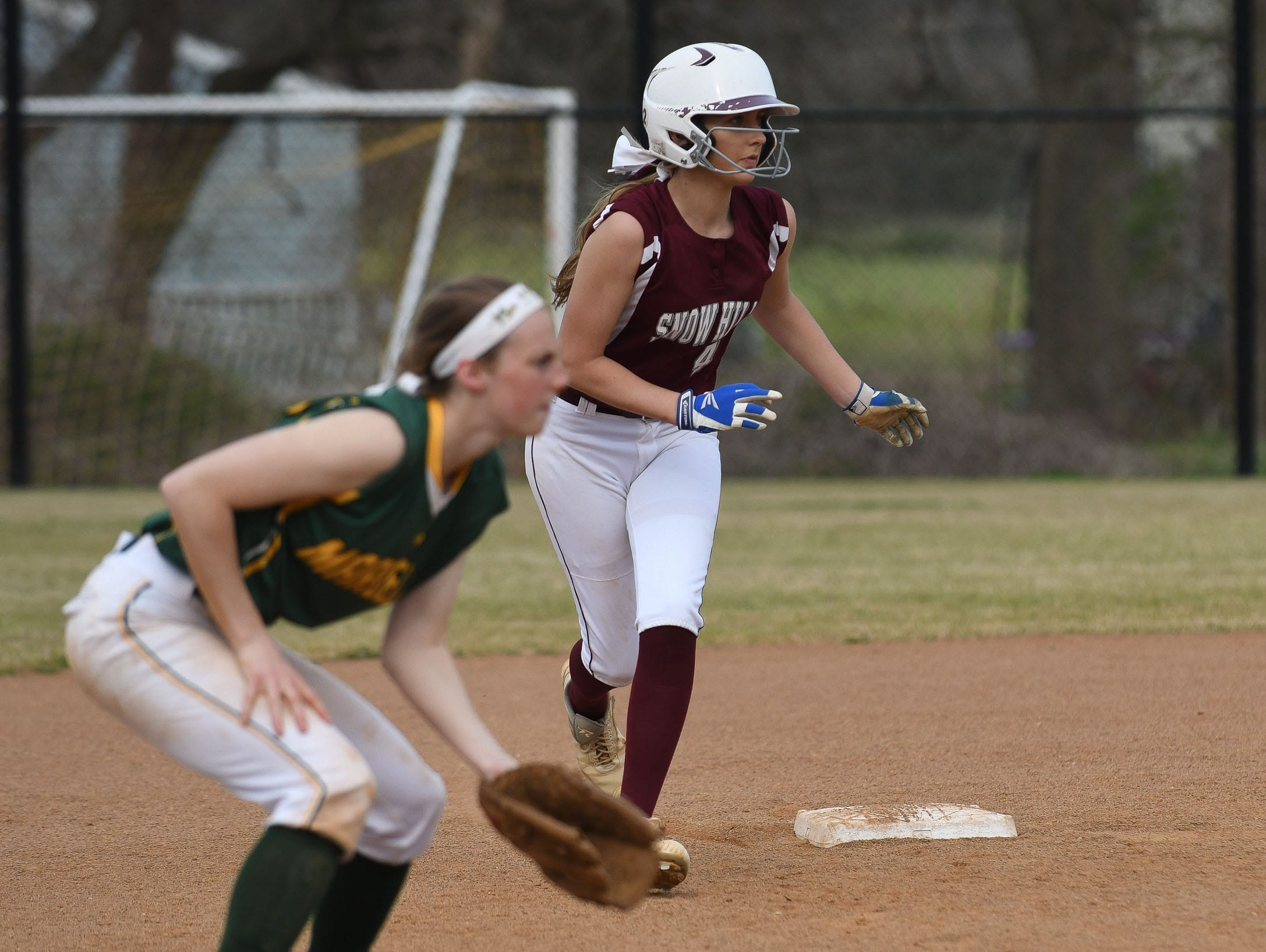 Snow Hill's Lauren Smith on second against Mardela on Monday, April 8, 2019 in Snow Hill, Md.
