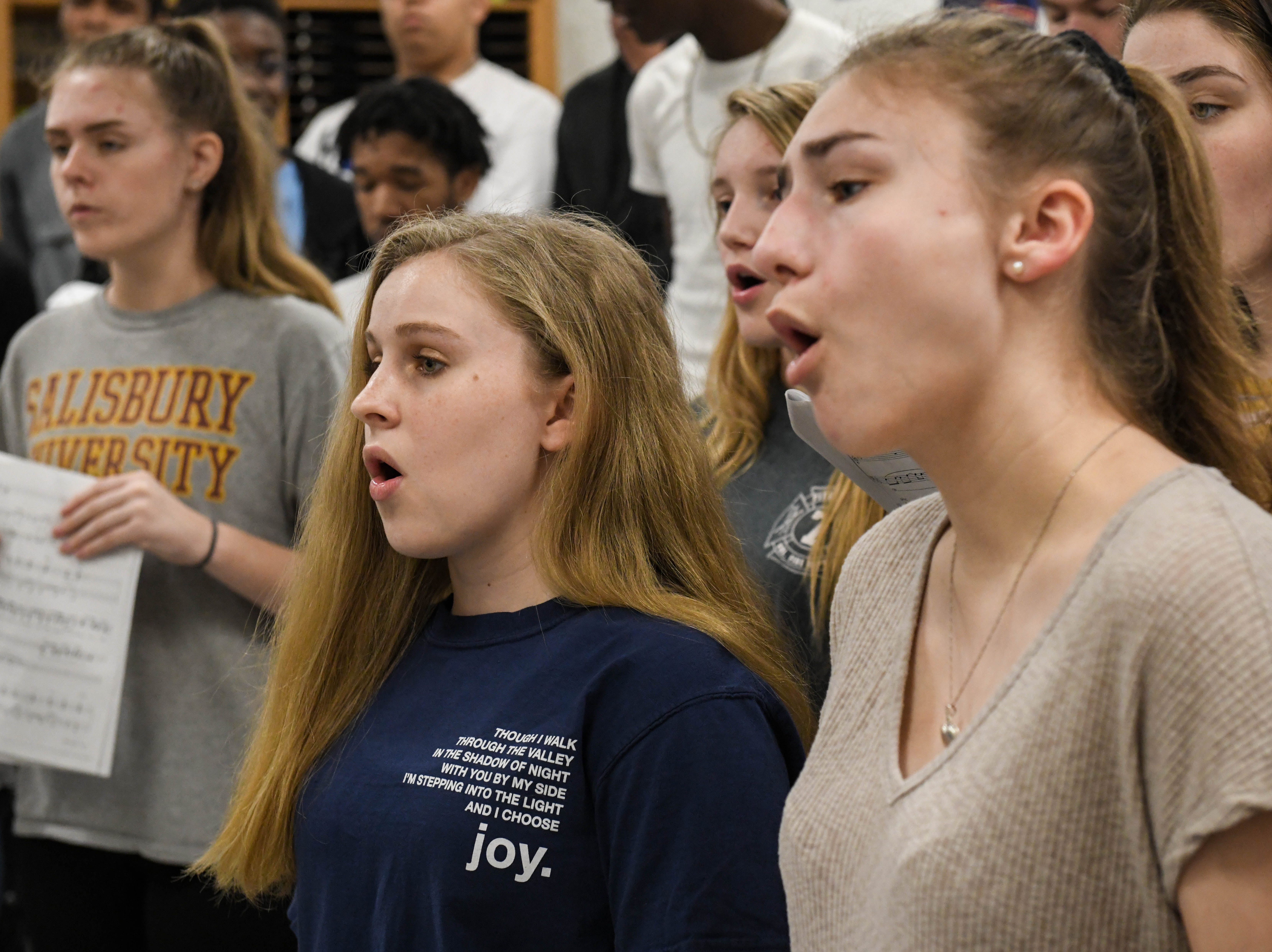 Students practice in choir at Parkside High School in Salisbury on Tuesday, April 9, 2019.