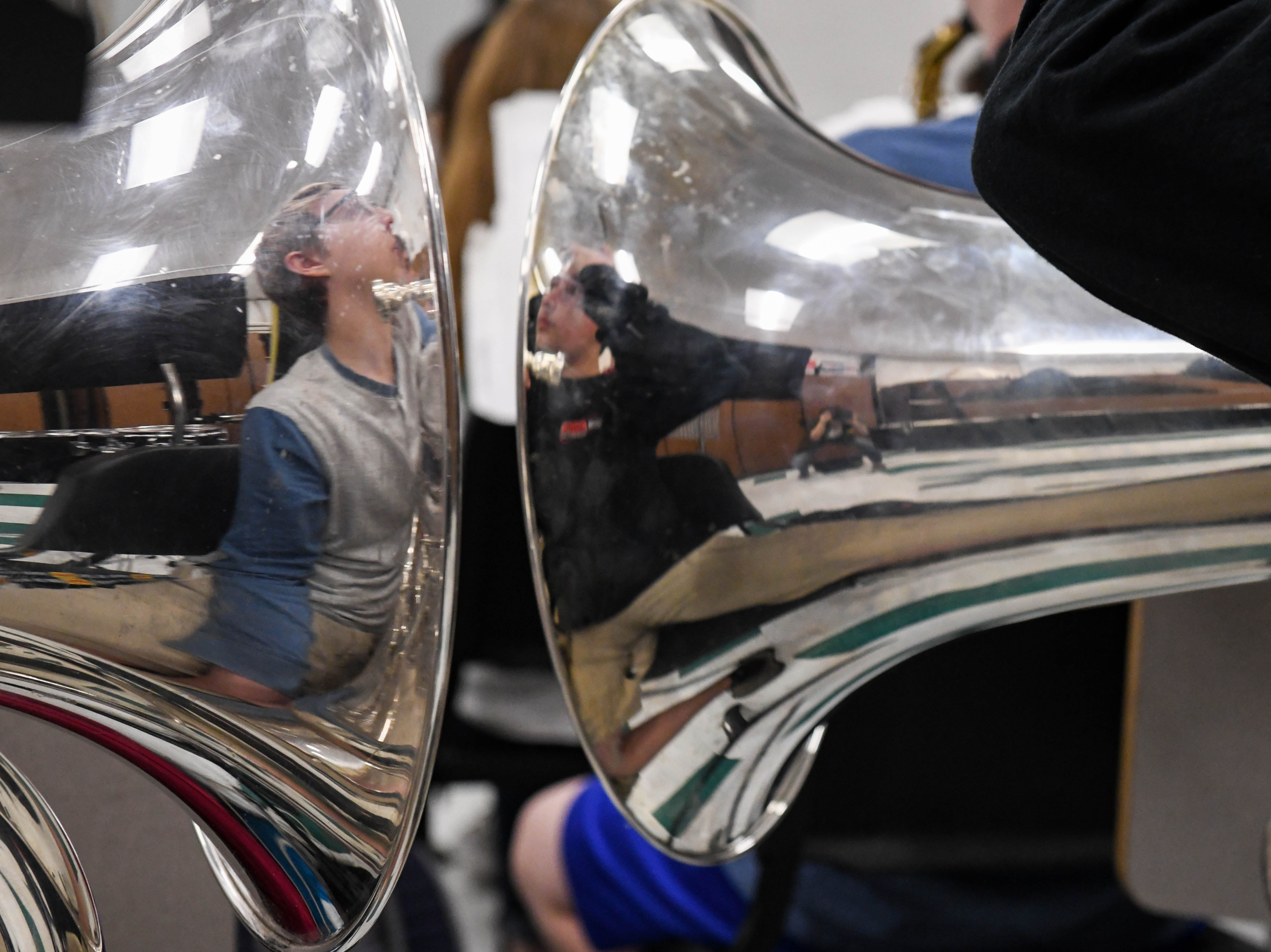 Students practice in the band at Parkside High School in Salisbury on Tuesday, April 9, 2019.