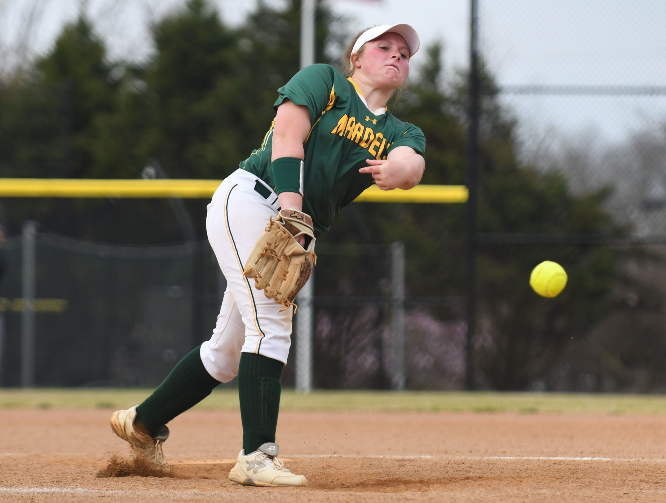 Mardela's Grace Barnes on the mound against Snow Hill on Monday, April 8, 2019 in Snow Hill, Md.