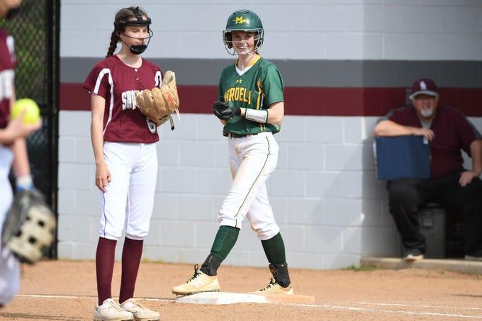 Mardela's Alexa Jones on first base against Snow Hill on Monday, April 8, 2019.