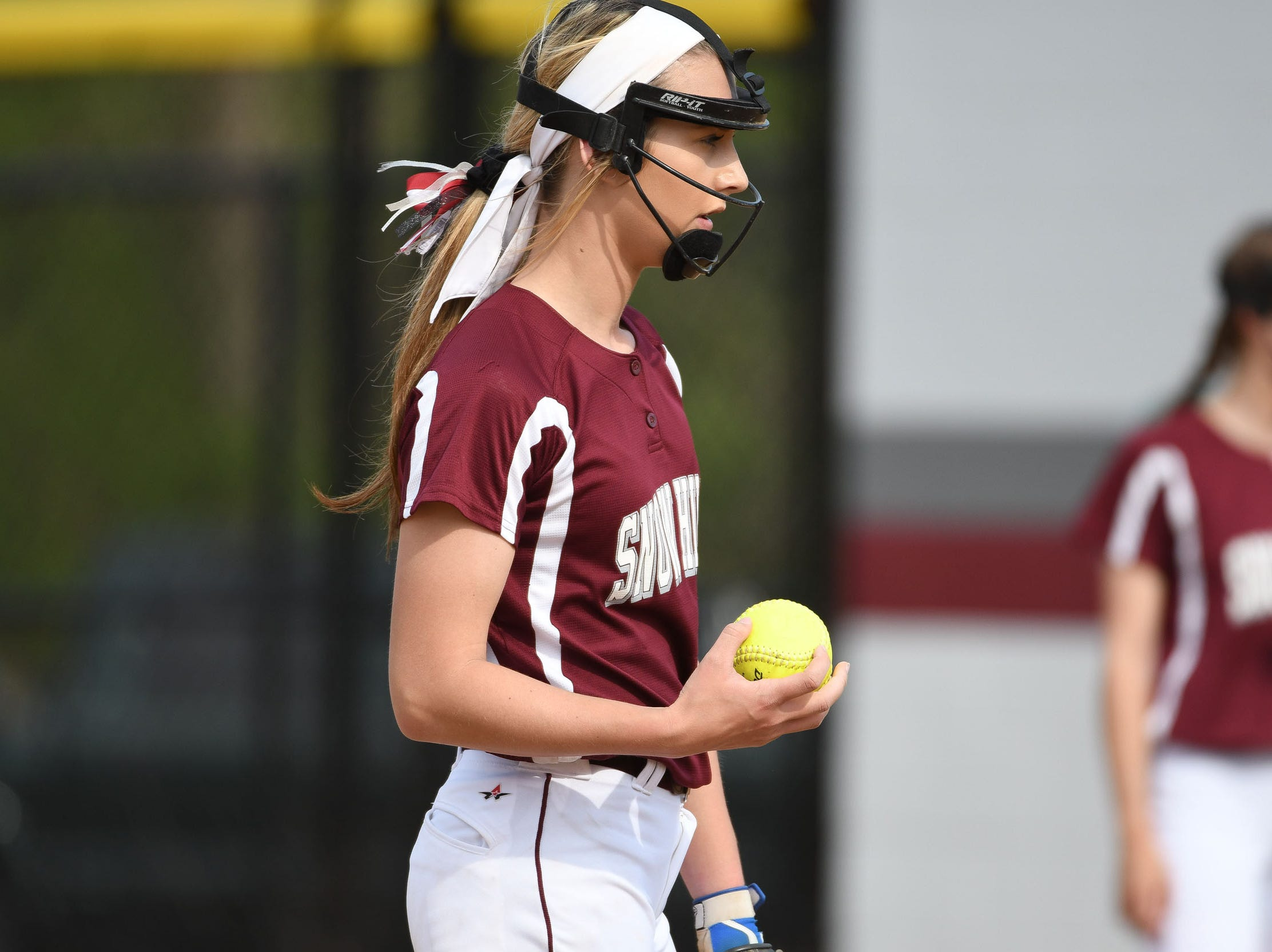 Snow Hill's Lauren Smith on the mound against Mardela on Monday, April 8, 2019 in Snow Hill, Md.