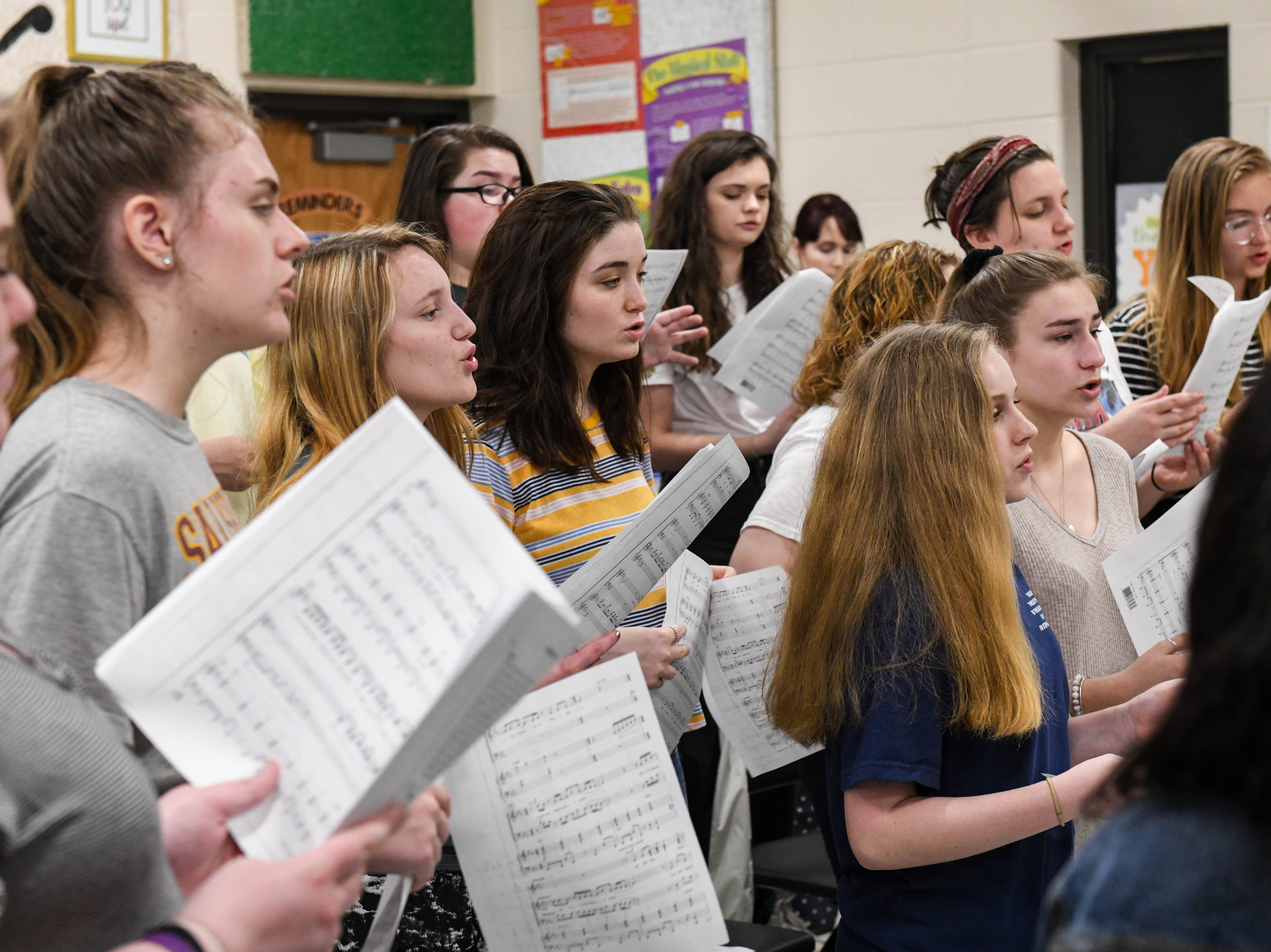 Students practice in choir at Parkside High School in Salisbury on Tuesday, April 9, 2019. Public schools in Wicomico and Worcester were named among the best communities for music.