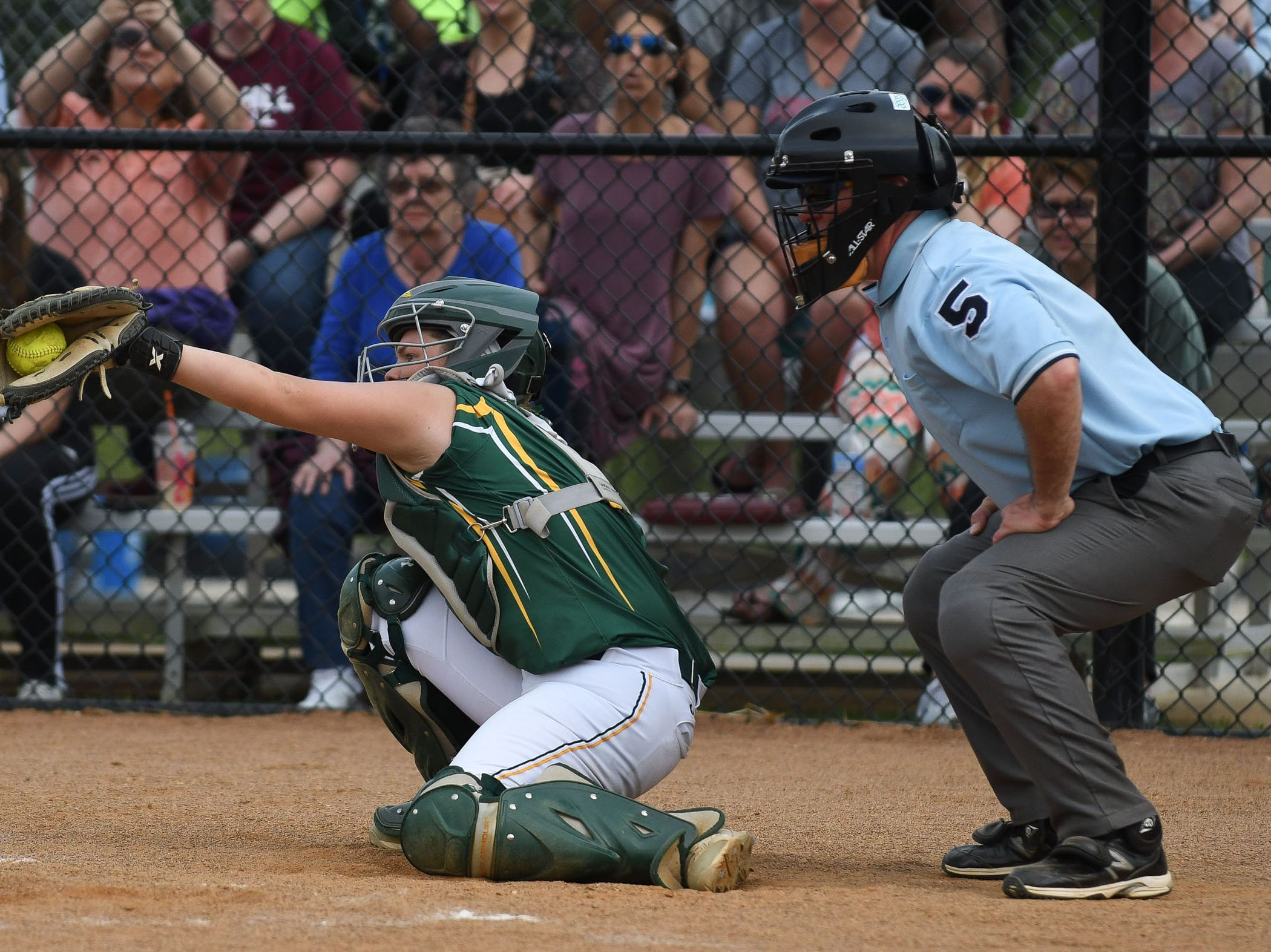 Mardela's Logan Gengo behind the plate against Snow Hill on Monday, April 8, 2019 in Snow Hill, Md.