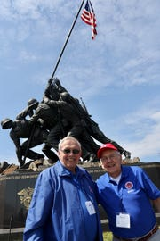 Harry Brill Jr. and brother Jerry Brill both of Oostburg at the Marine Corps Iwo Jima Memorial. The pair were part of the 50th Stars and Stripes Honor Flight on Saturday, April 6.