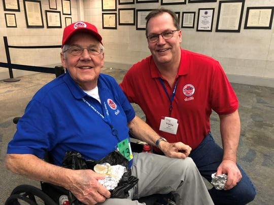 Veteran Harry Brill Jr. Of Oostburg with son Tracey Brill were part of the group of group of 172 veterans and guardians who went to D.C. on Saturday, April 6 as part of the 50th Stars and Stripes Honor Flight.