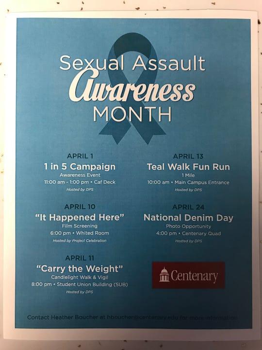 Sexual assault awareness event calendar for Centenary College.