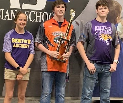 Benton's Amber Long, Aiden Hare and Brady Duncan each received scholarship funds for their performance Saturday during the Archery in Louisiana Schools state tournament in Shreveport.
