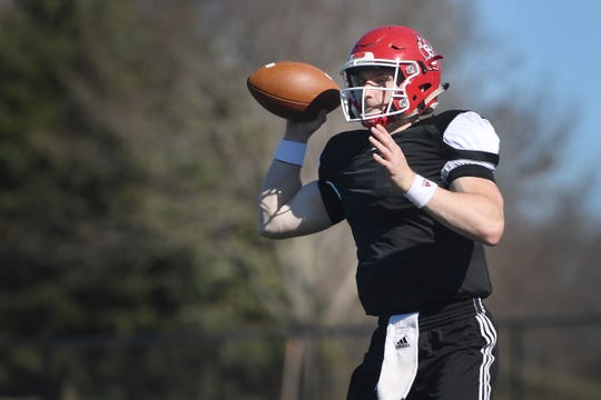 USD quarter back Austin Simmons during spring football camp Monday, April, 8, on the outdoor practice field at the university in Vermillion.