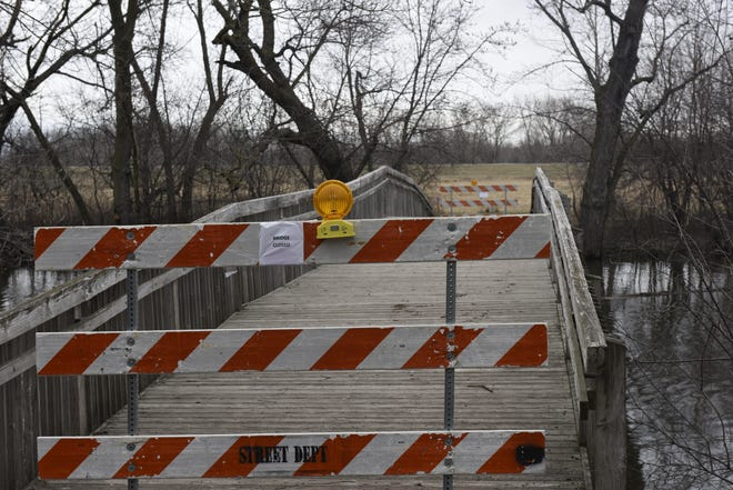 A closed bridge at the Outdoor Campus on April 9,.