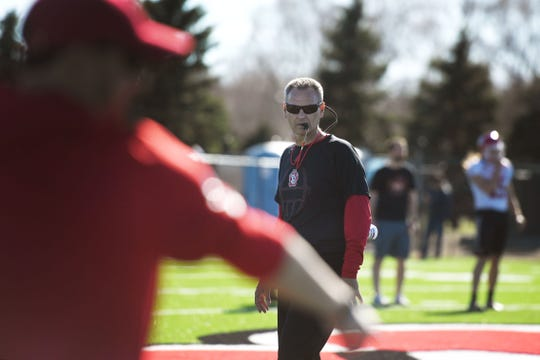 USD head coach Bob Nielson during spring football camp Monday, April, 8, on the outdoor practice field at the university in Vermillion.
