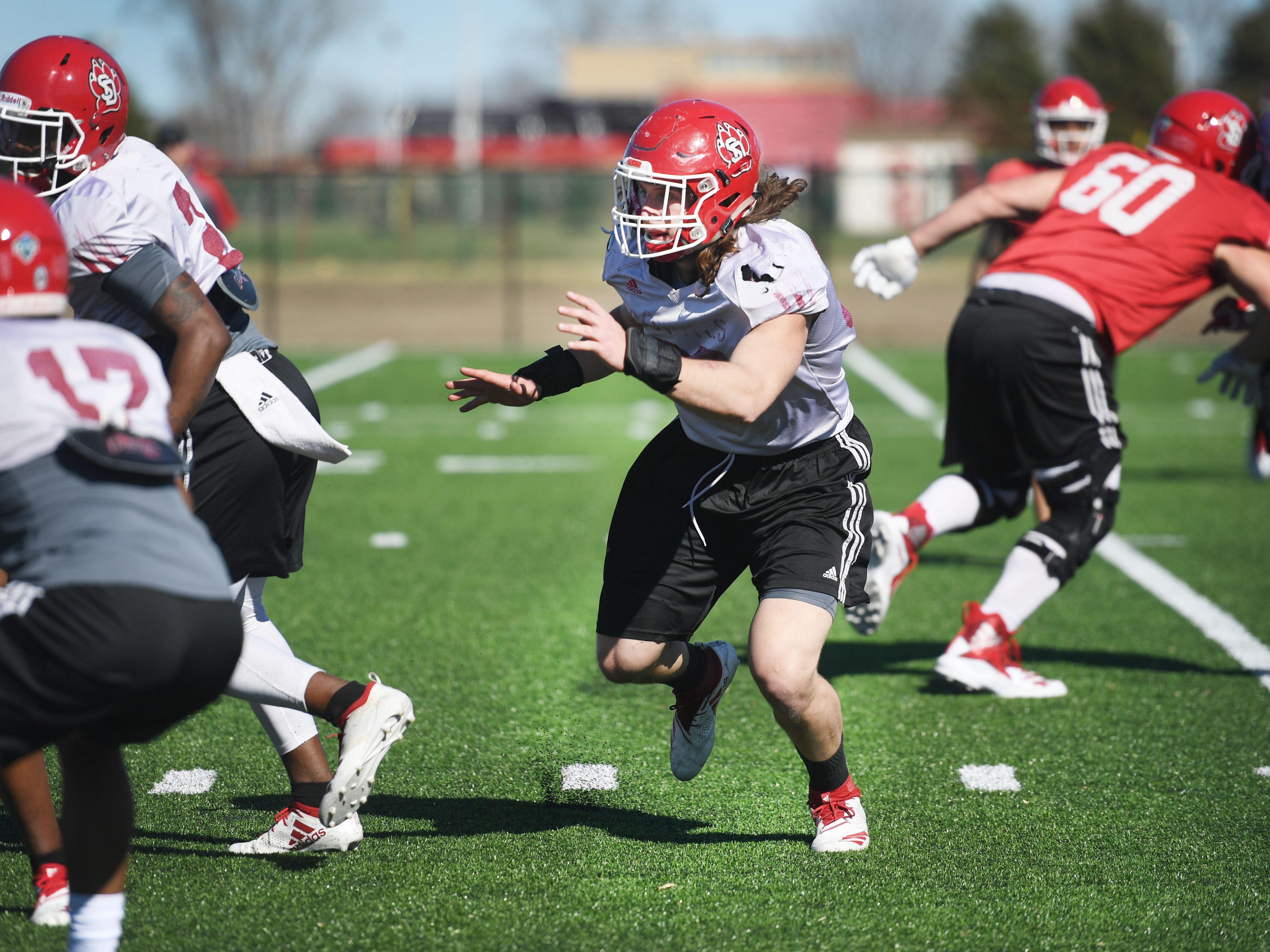 USD linebacker Jack Cochrane during spring football camp Monday, April, 8, on the outdoor practice field at the university in Vermillion.