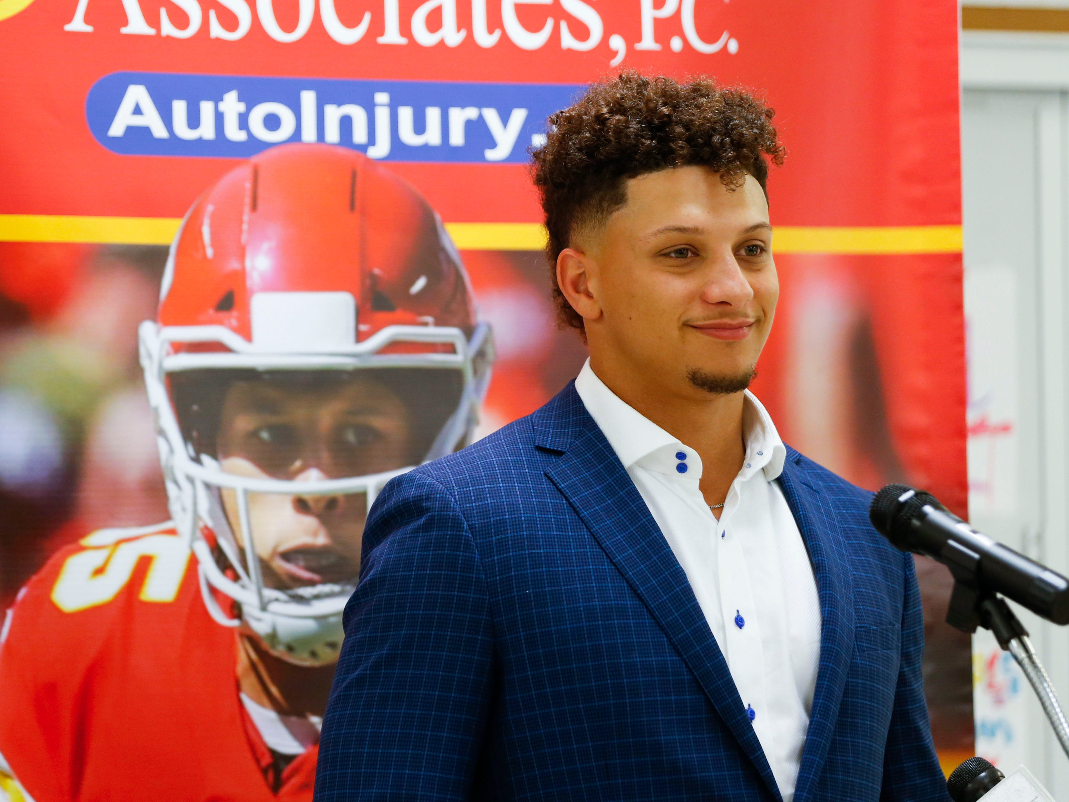 Patrick Mahomes II speaks at a press conference at the Boys & Girls Clubs of Springfield before speaking at the annual 23rd Annual Steak & Steak Dinner on Tuesday, April 9, 2019.