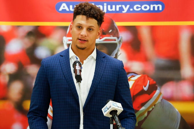Patrick Mahomes II appears at a press conference at the Boys & Girls Clubs of Springfield before speaking at the annual 23rd Annual Steak & Steak Dinner on Tuesday, April 9, 2019.