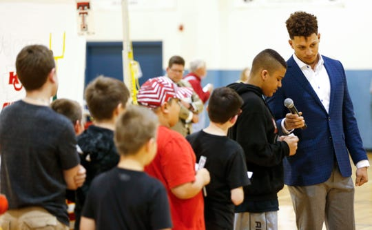 Patrick Mahomes II takes questions from a group of kids at the Boys & Girls Clubs of Springfield before speaking at the annual 23rd Annual Steak & Steak Dinner on Tuesday, April 9, 2019.