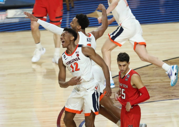 Apr 8, 2019; Minneapolis, MN, USA; Virginia Cavaliers guard De'Andre Hunter (12) and guard Braxton Key (2) celebrate after defeating the Texas Tech Red Raiders in the championship game of the 2019 men's Final Four at US Bank Stadium. Mandatory Credit: Brace Hemmelgarn-USA TODAY Sports