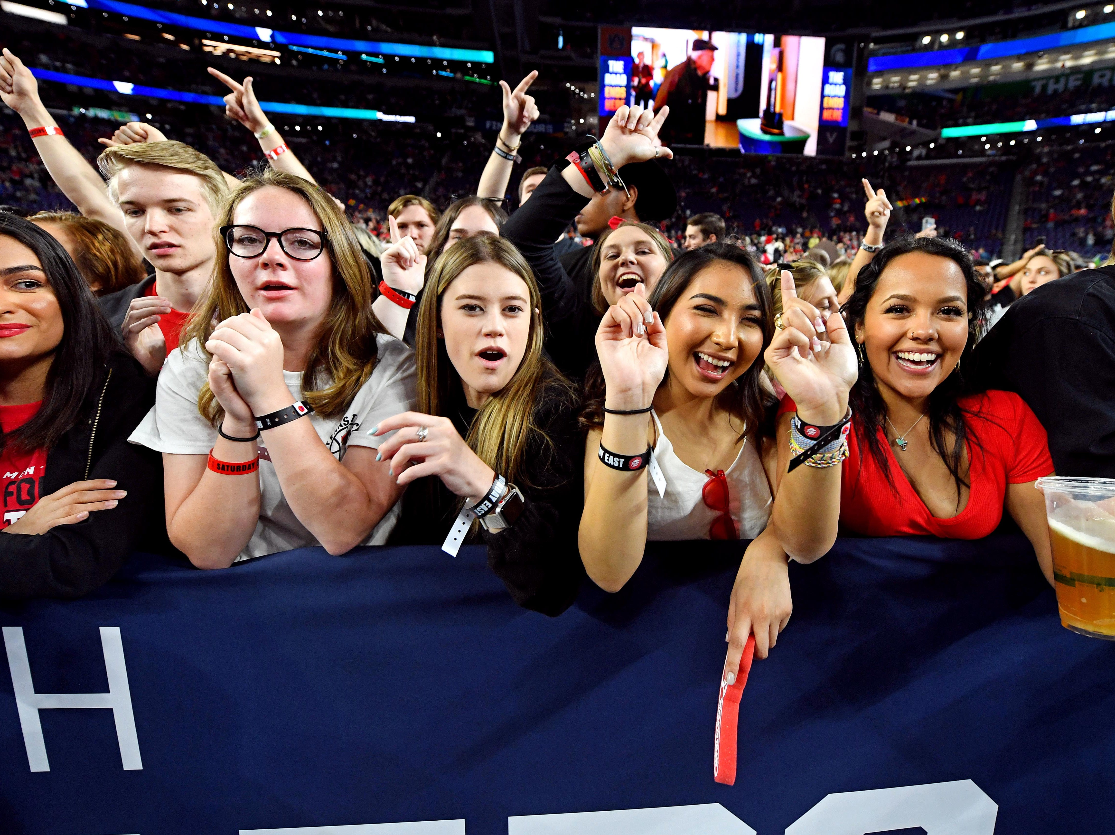 Apr 8, 2019; Minneapolis, MN, USA; Texas Tech Red Raiders fans cheer before the game against the Virginia Cavaliers in the championship game of the 2019 men's Final Four at US Bank Stadium. Mandatory Credit: Bob Donnan-USA TODAY Sports
