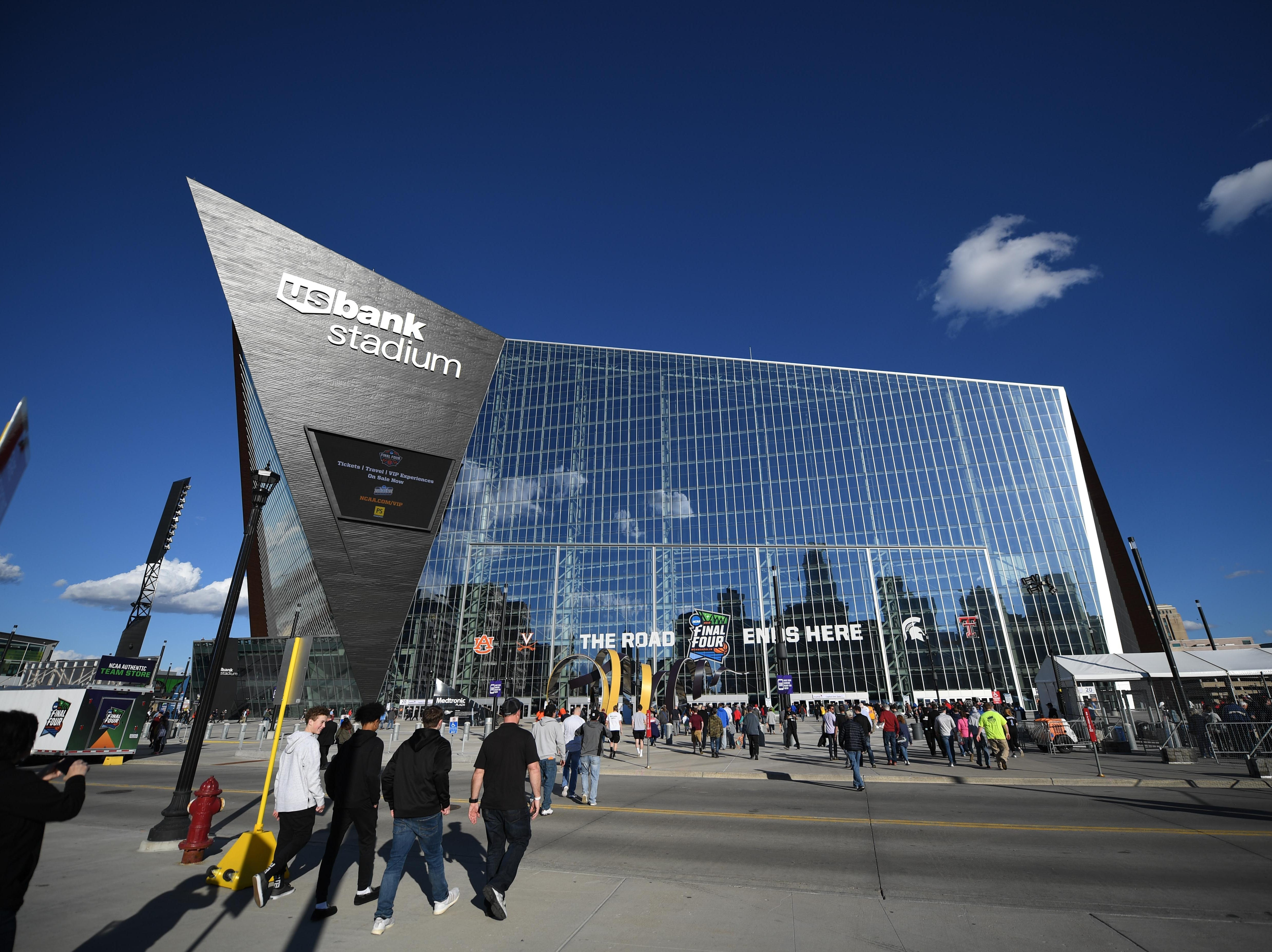 Apr 8, 2019; Minneapolis, MN, USA; Basketball fans arrive before the championship game of the 2019 men's Final Four between the Virginia Cavaliers and Texas Tech Red Raiders at US Bank Stadium. Mandatory Credit: Shanna Lockwood-USA TODAY Sports