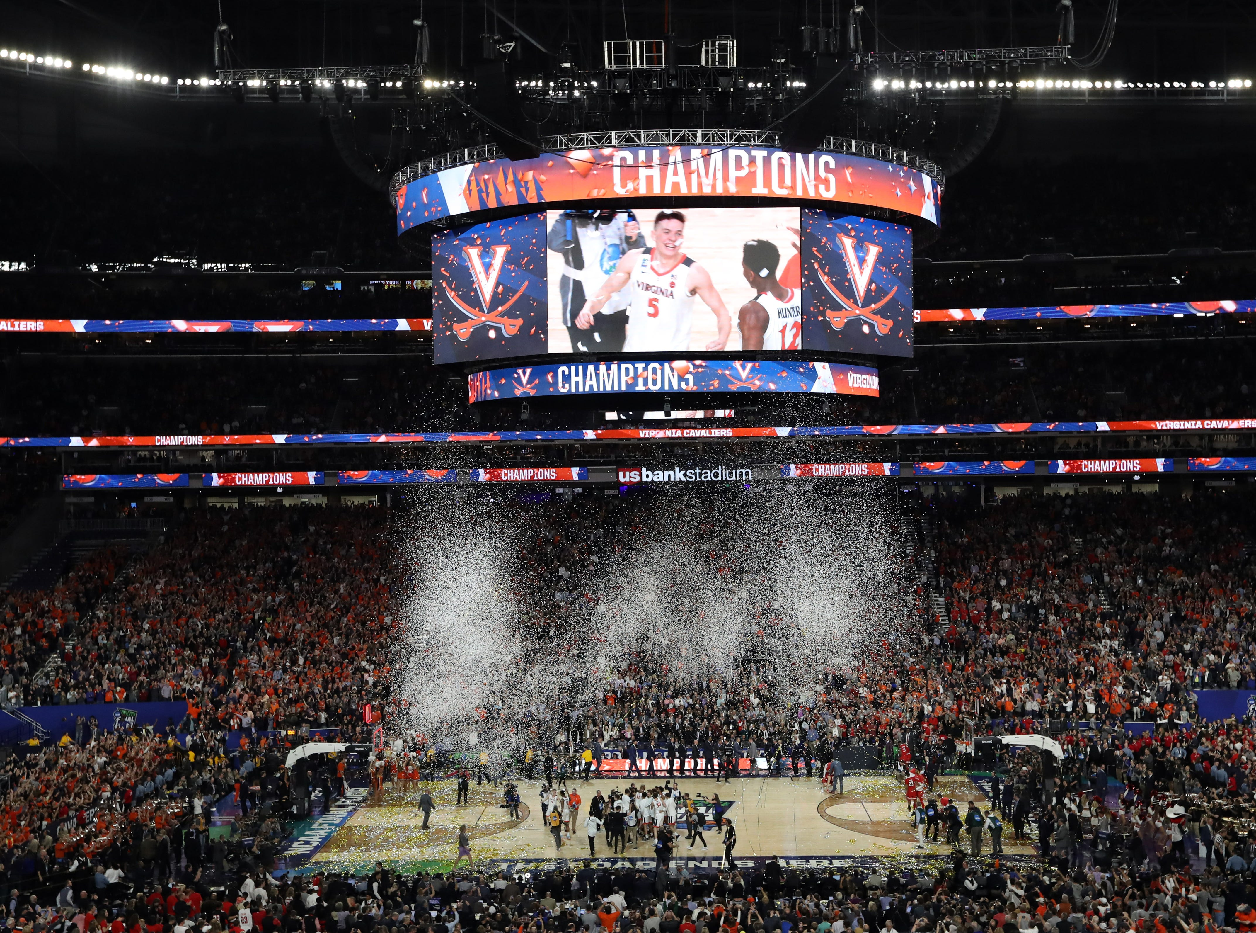 Apr 8, 2019; Minneapolis, MN, USA; A general view of US Bank Stadium after Virginia Cavaliers defeated Texas Tech Red Raiders in the championship game of the 2019 men's Final Four. Mandatory Credit: Brace Hemmelgarn-USA TODAY Sports