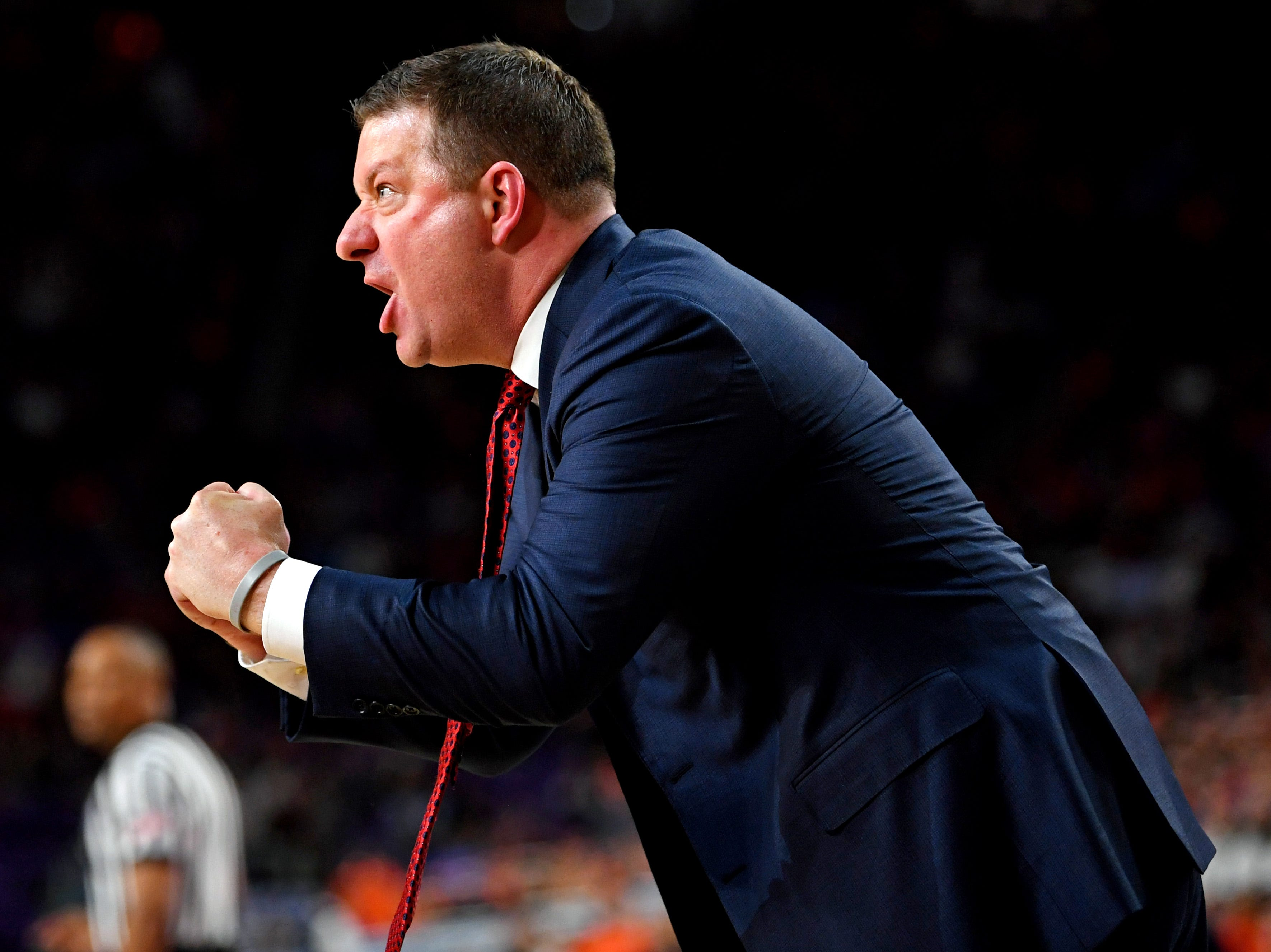 Apr 8, 2019; Minneapolis, MN, USA; Texas Tech Red Raiders head coach Chris Beard reacts during the first half against the Virginia Cavaliers in the championship game of the 2019 men's Final Four at US Bank Stadium. Mandatory Credit: Bob Donnan-USA TODAY Sports