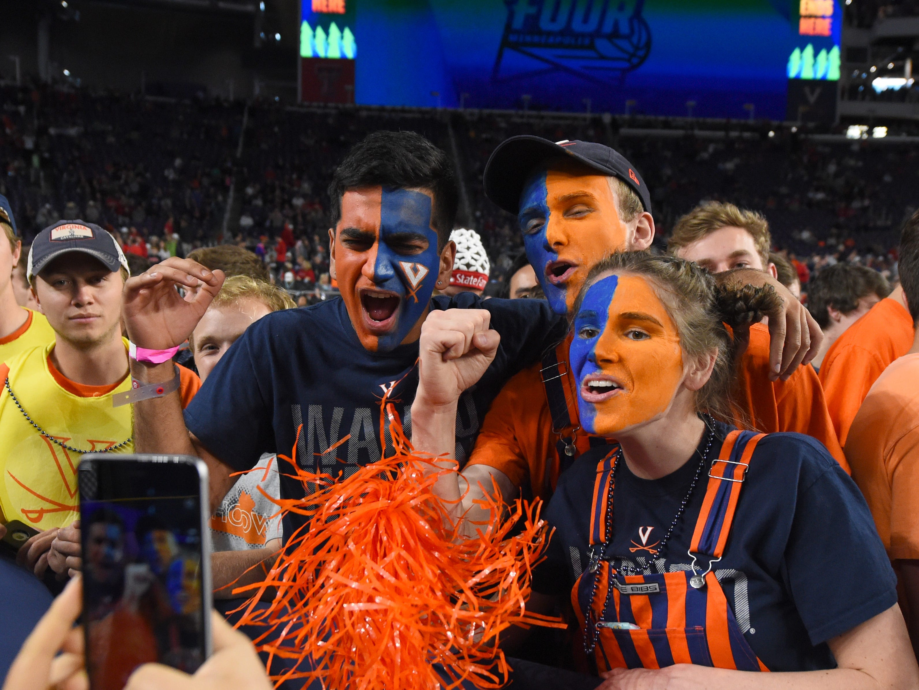 Apr 8, 2019; Minneapolis, MN, USA; Virginia Cavaliers fans prior to facing the Texas Tech Red Raiders in the championship game of the 2019 men's Final Four at US Bank Stadium. Mandatory Credit: Robert Deutsch-USA TODAY Sports