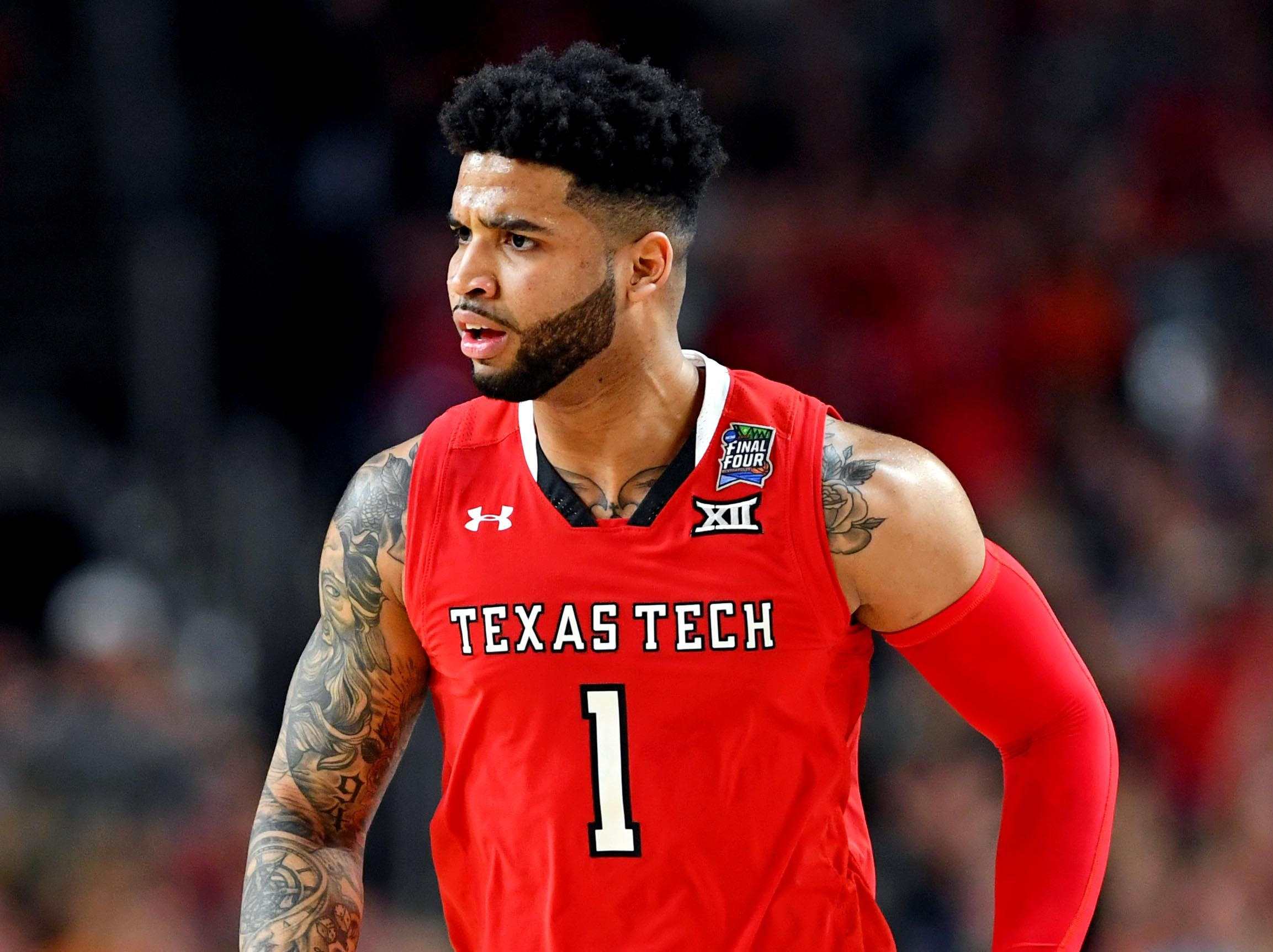 Apr 8, 2019; Minneapolis, MN, USA; Texas Tech Red Raiders guard Brandone Francis (1) reacts after a play against the Virginia Cavaliers during the first half in the championship game of the 2019 men's Final Four at US Bank Stadium. Mandatory Credit: Bob Donnan-USA TODAY Sports