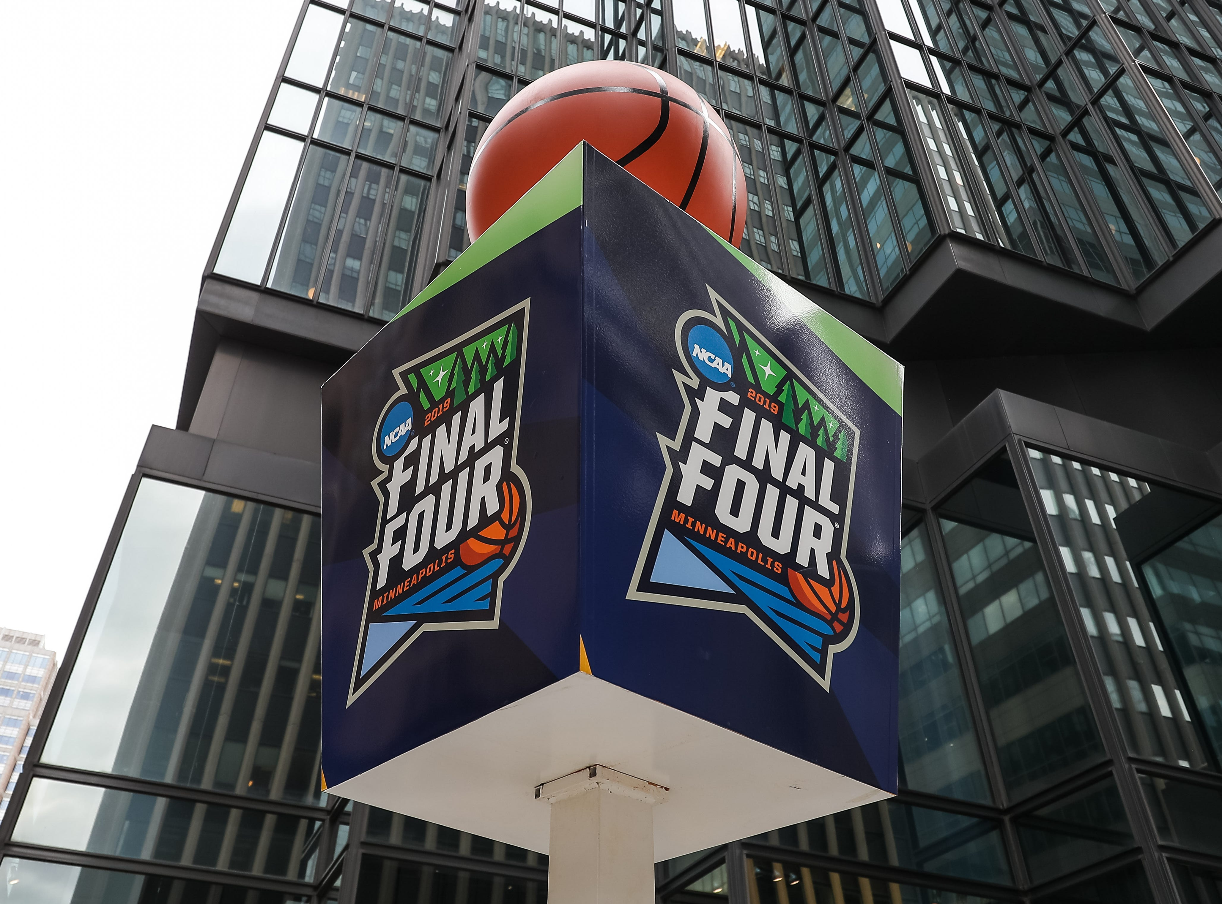 Apr 8, 2019; Minneapolis, MN, USA; A general view of Final Four signage outside before the championship game between the Virginia Cavaliers and Texas Tech Red Raiders. Mandatory Credit: Brace Hemmelgarn-USA TODAY Sports