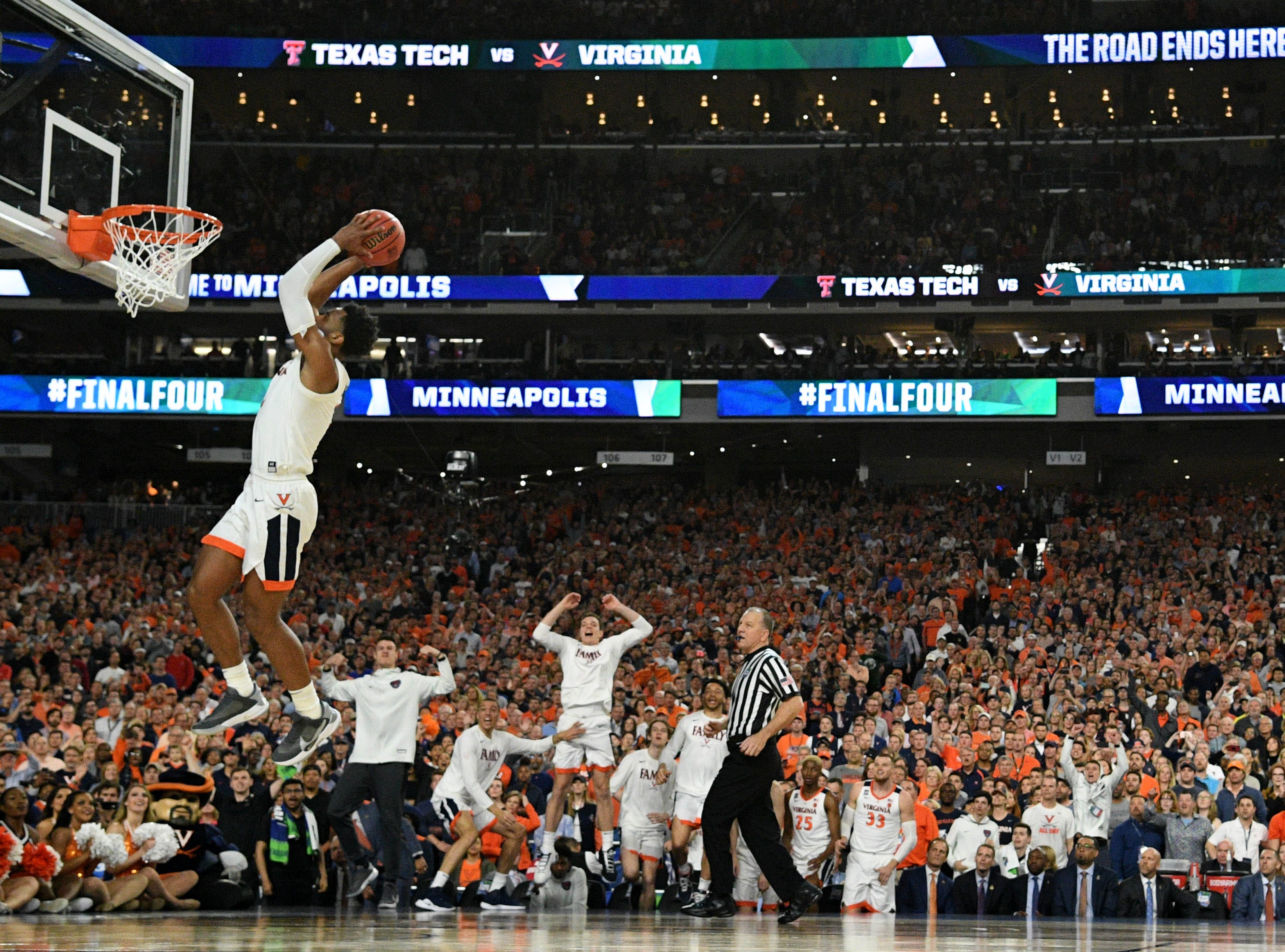 Apr 8, 2019; Minneapolis, MN, USA; Virginia Cavaliers guard Braxton Key (2) dunks the ball against the Texas Tech Red Raiders in overtime in the championship game of the 2019 men's Final Four at US Bank Stadium. Mandatory Credit: Robert Deutsch-USA TODAY Sports