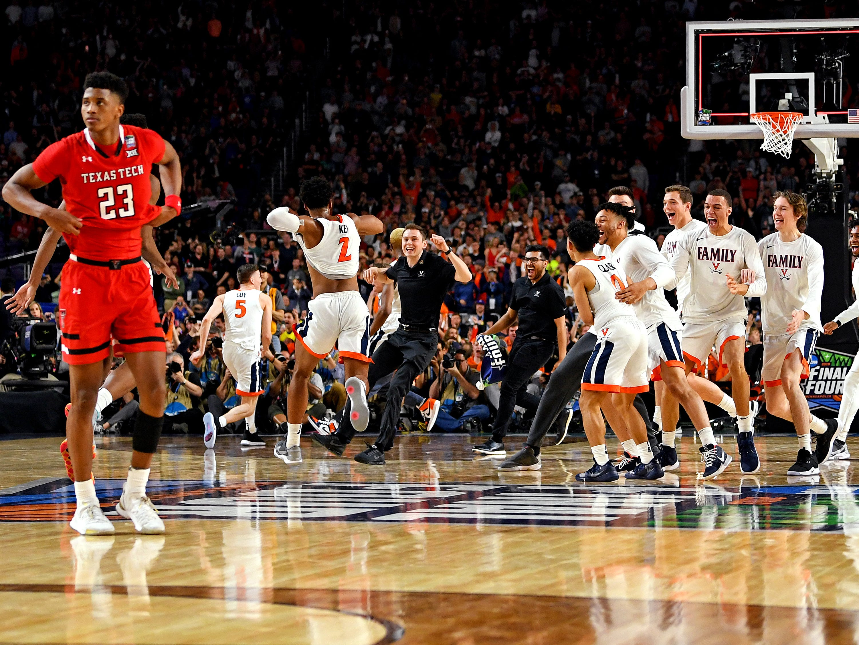 Apr 8, 2019; Minneapolis, MN, USA; The Virginia Cavaliers celebrate beating Texas Tech Red Raiders in the championship game of the 2019 men's Final Four at US Bank Stadium. Mandatory Credit: Bob Donnan-USA TODAY Sports