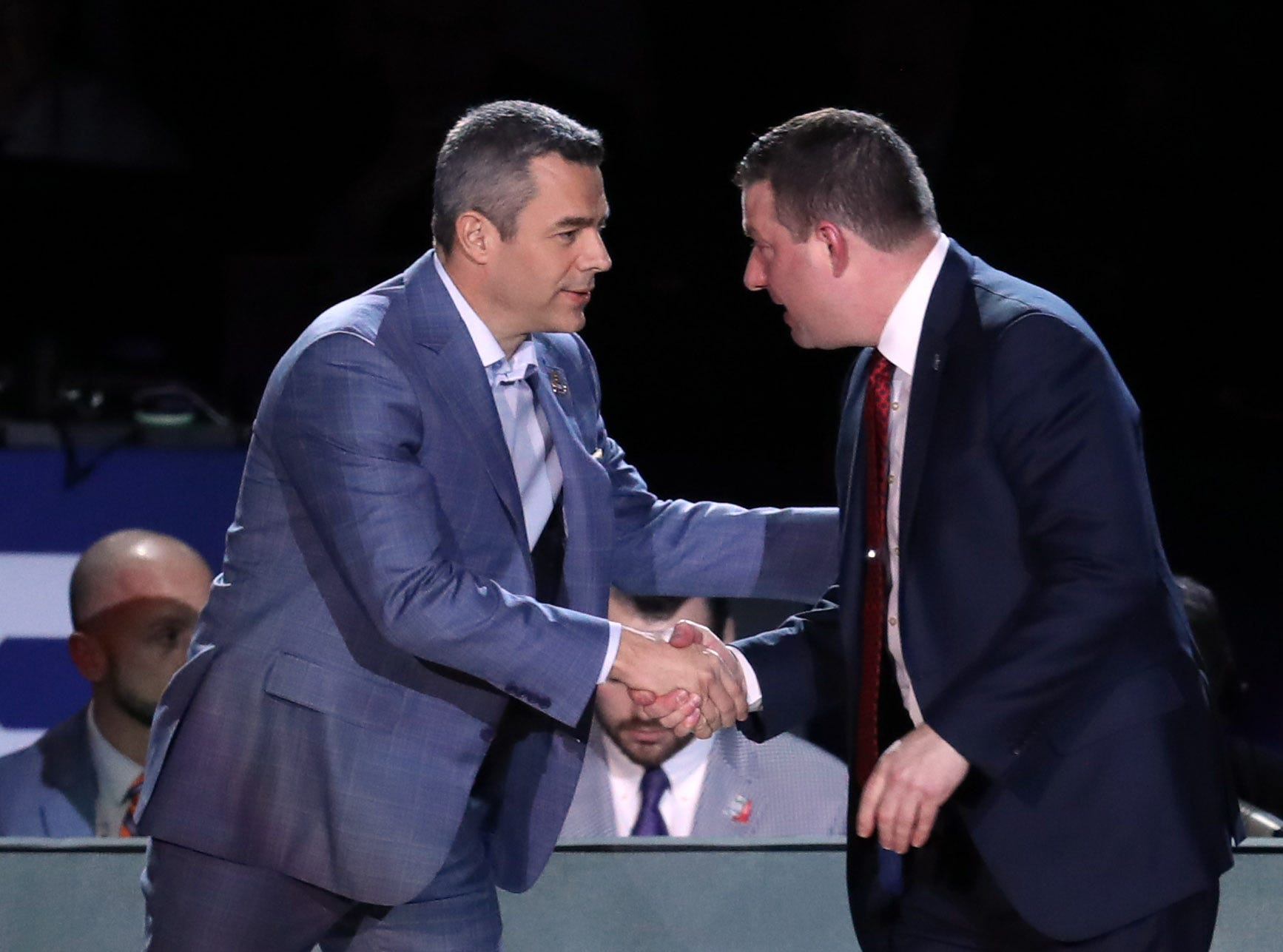 Apr 8, 2019; Minneapolis, MN, USA; Texas Tech Red Raiders head coach Chris Beard and Virginia Cavaliers head coach Tony Bennett shake hands before the championship game of the 2019 men's Final Four at US Bank Stadium. Mandatory Credit: Brace Hemmelgarn-USA TODAY Sports