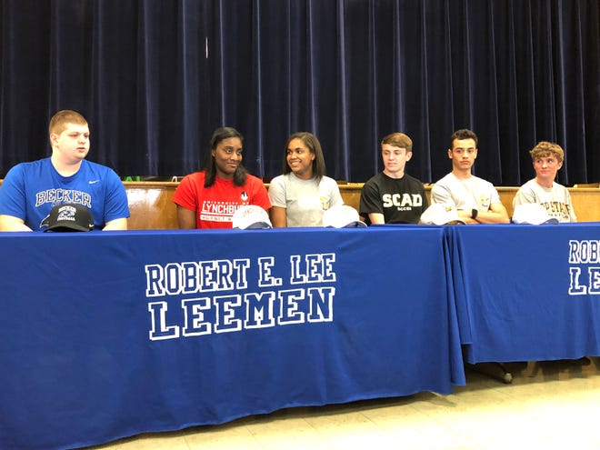 Six Lee High athletes announced their college decisions Tuesday. From left, Brennin Moss, Lexi Hall, Rachel Christian, Carson Murray, Marcos Sasia, and Oliver Wilson-Cook.