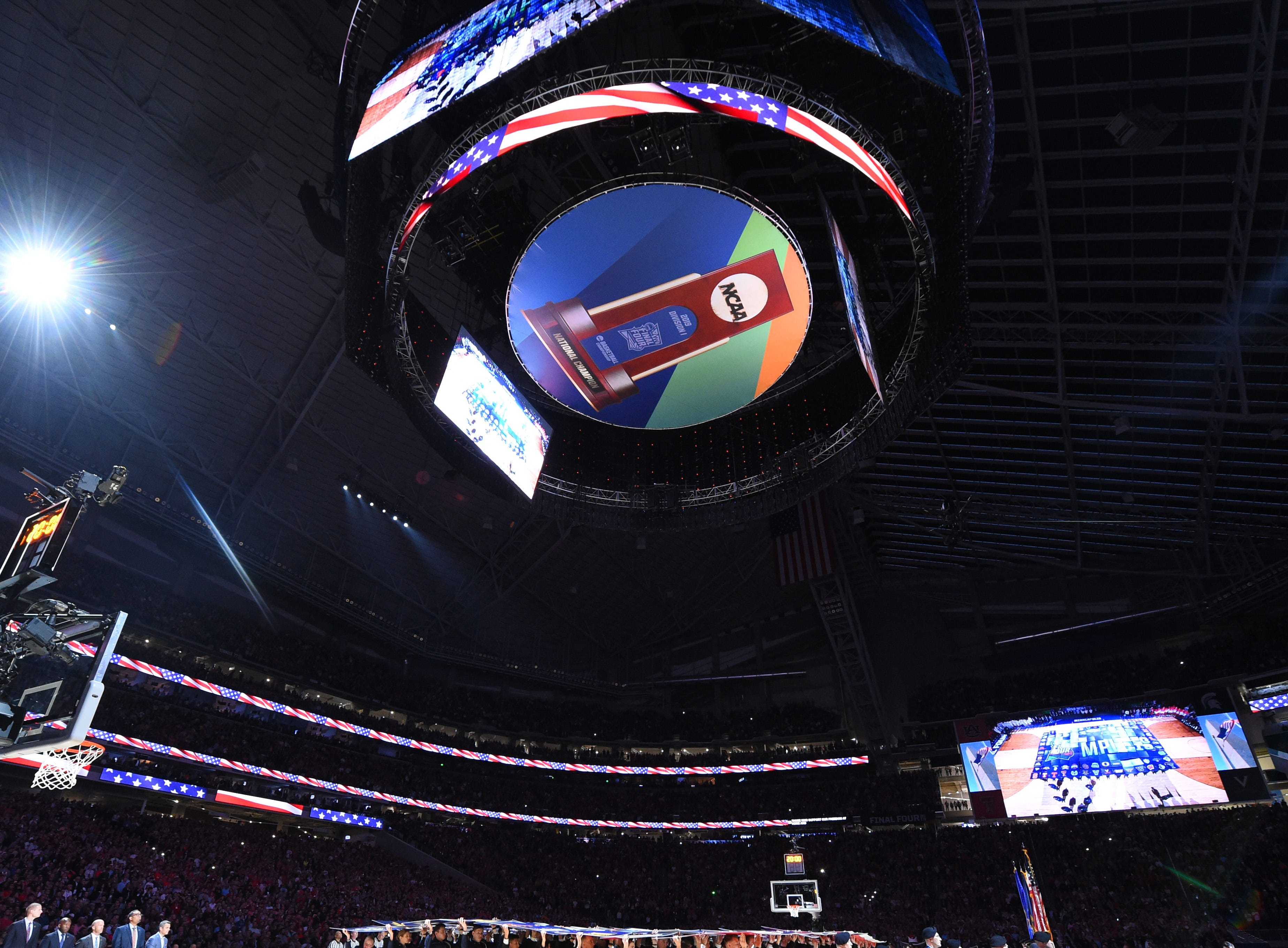 Apr 8, 2019; Minneapolis, MN, USA; A general view during the playing of the national anthem between the Texas Tech Red Raiders and the Virginia Cavaliers in the championship game of the 2019 men's Final Four at US Bank Stadium. Mandatory Credit: Robert Deutsch-USA TODAY Sports