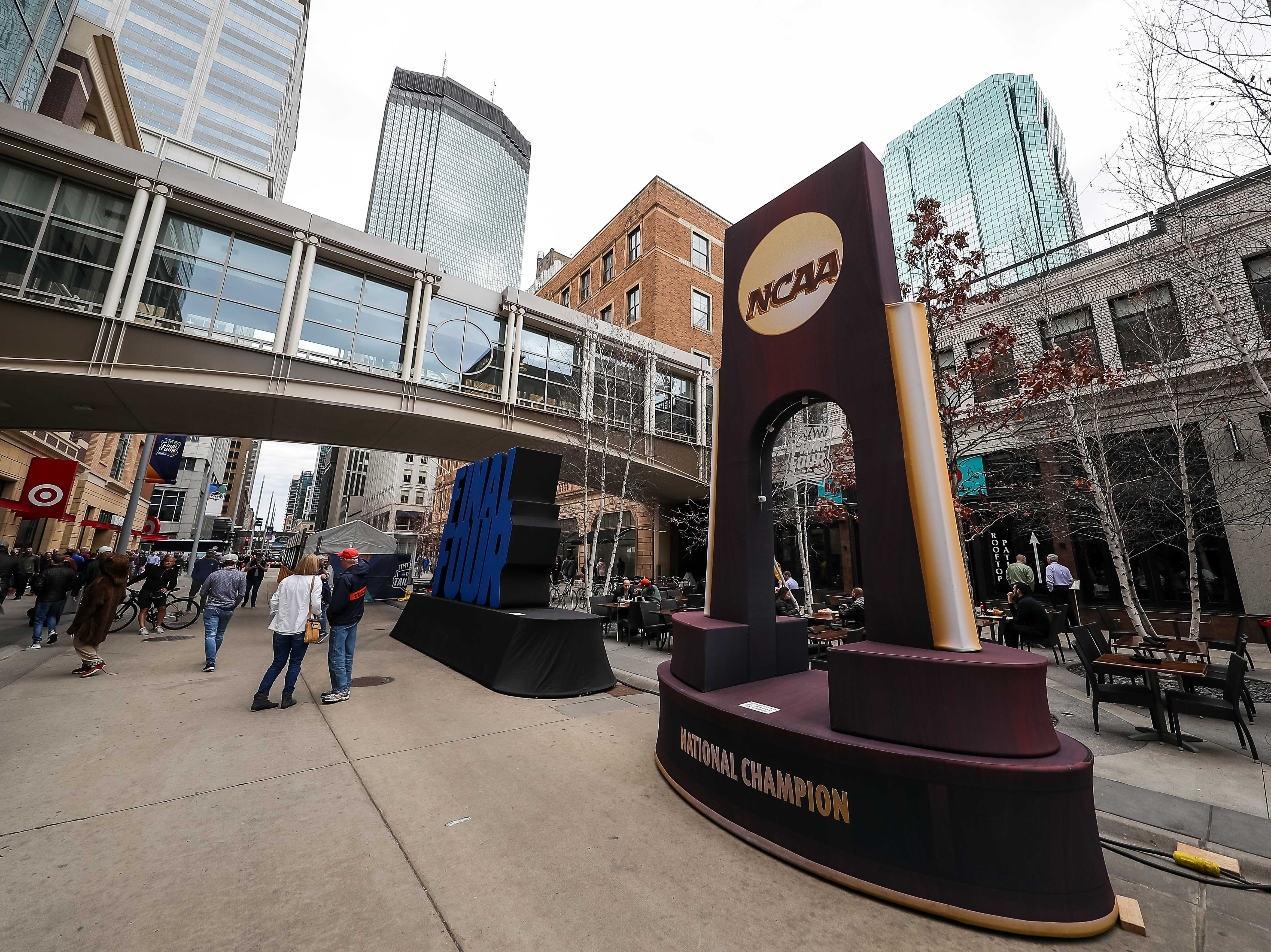 Apr 8, 2019; Minneapolis, MN, USA; A general view of a national championship trophy sculpture outside before the championship game between the Virginia Cavaliers and Texas Tech Red Raiders. Mandatory Credit: Brace Hemmelgarn-USA TODAY Sports