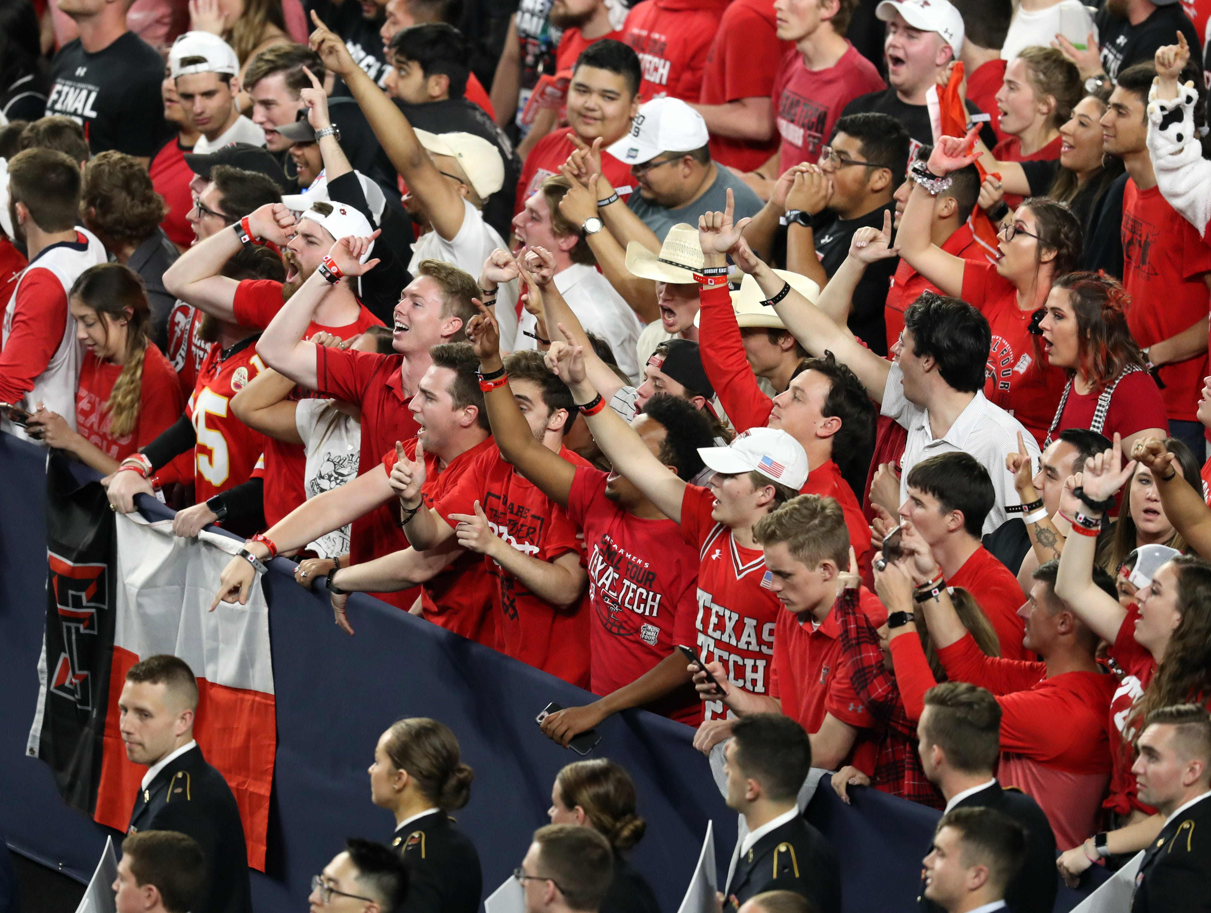 Apr 8, 2019; Minneapolis, MN, USA; Texas Tech Red Raiders fans cheer before the championship game of the 2019 men's Final Four against the Virginia Cavaliers at US Bank Stadium. Mandatory Credit: Brace Hemmelgarn-USA TODAY Sports