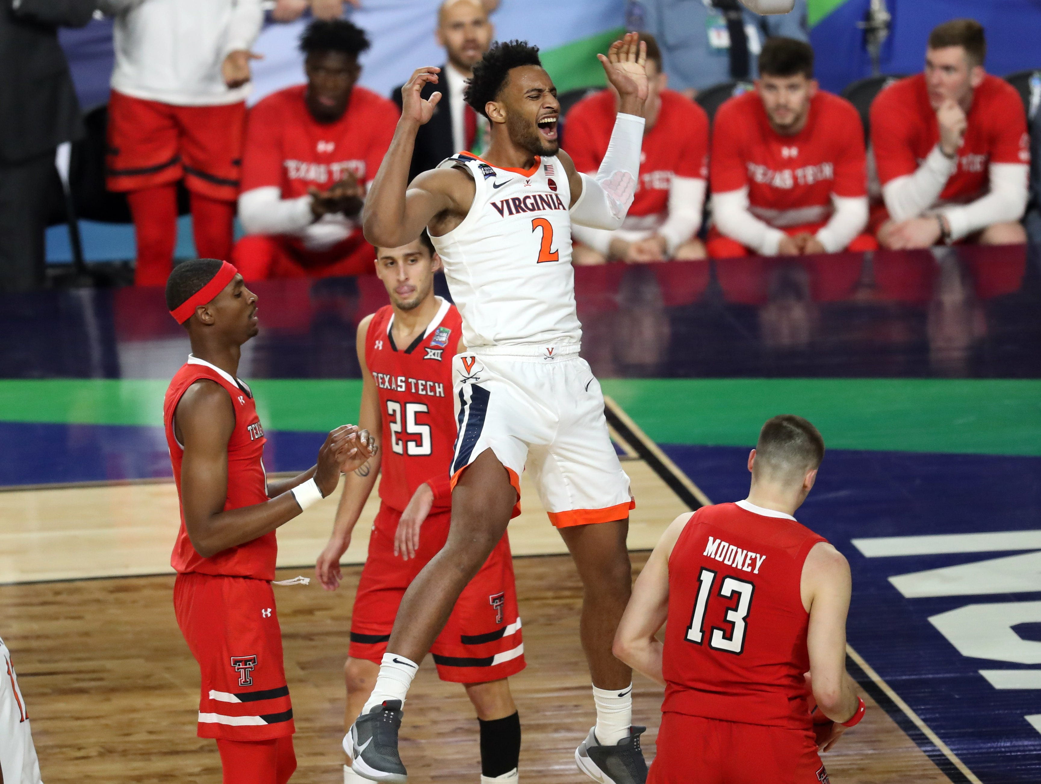 Apr 8, 2019; Minneapolis, MN, USA; Virginia Cavaliers guard Braxton Key (2) celebrates after a dunk against the Texas Tech Red Raiders during the first half in the championship game of the 2019 men's Final Four at US Bank Stadium. Mandatory Credit: Brace Hemmelgarn-USA TODAY Sports