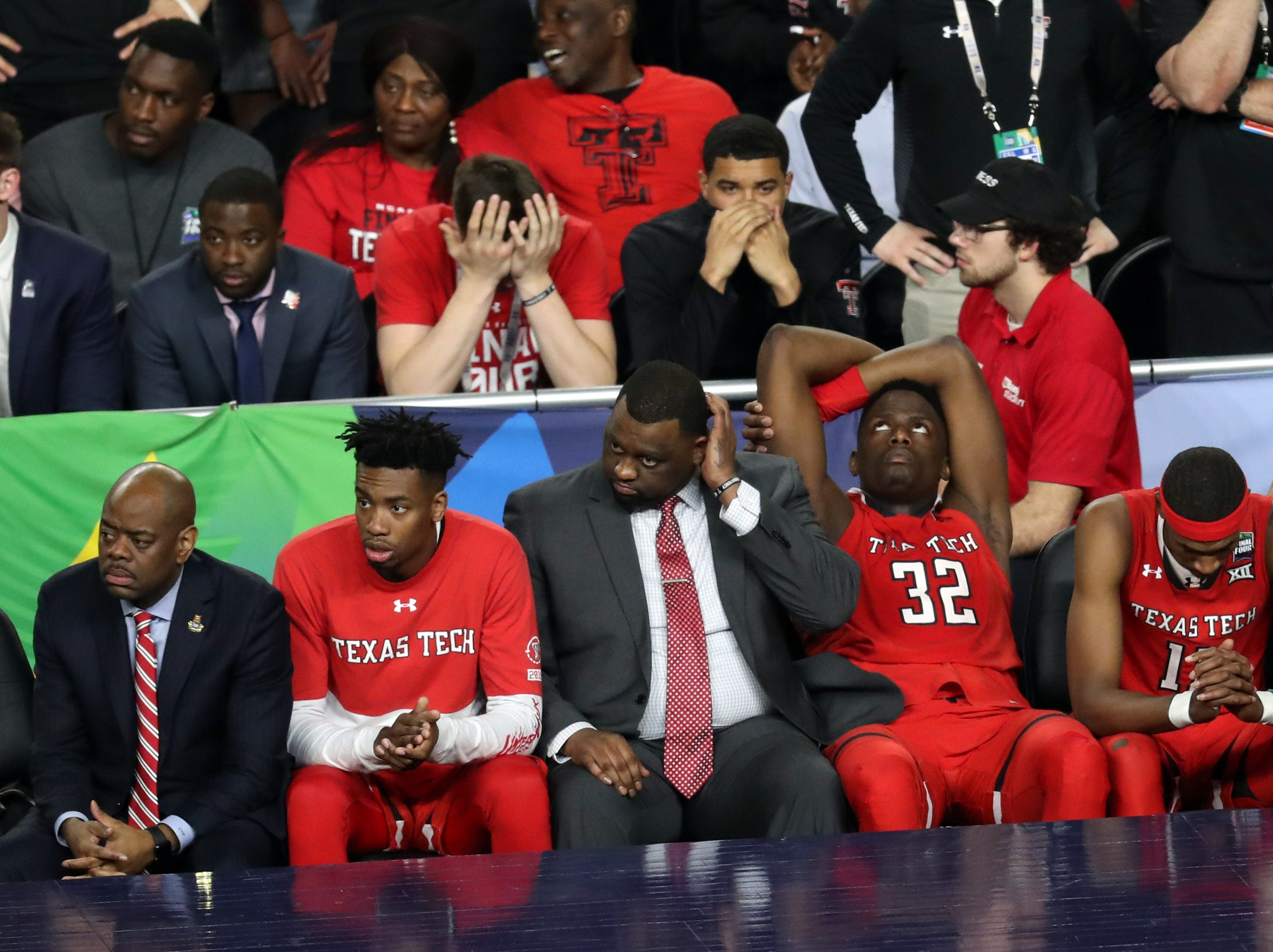 Apr 8, 2019; Minneapolis, MN, USA; The Texas Tech Red Raiders bench reacts during the second half against the Virginia Cavaliers in the championship game of the 2019 men's Final Four at US Bank Stadium. Mandatory Credit: Brace Hemmelgarn-USA TODAY Sports