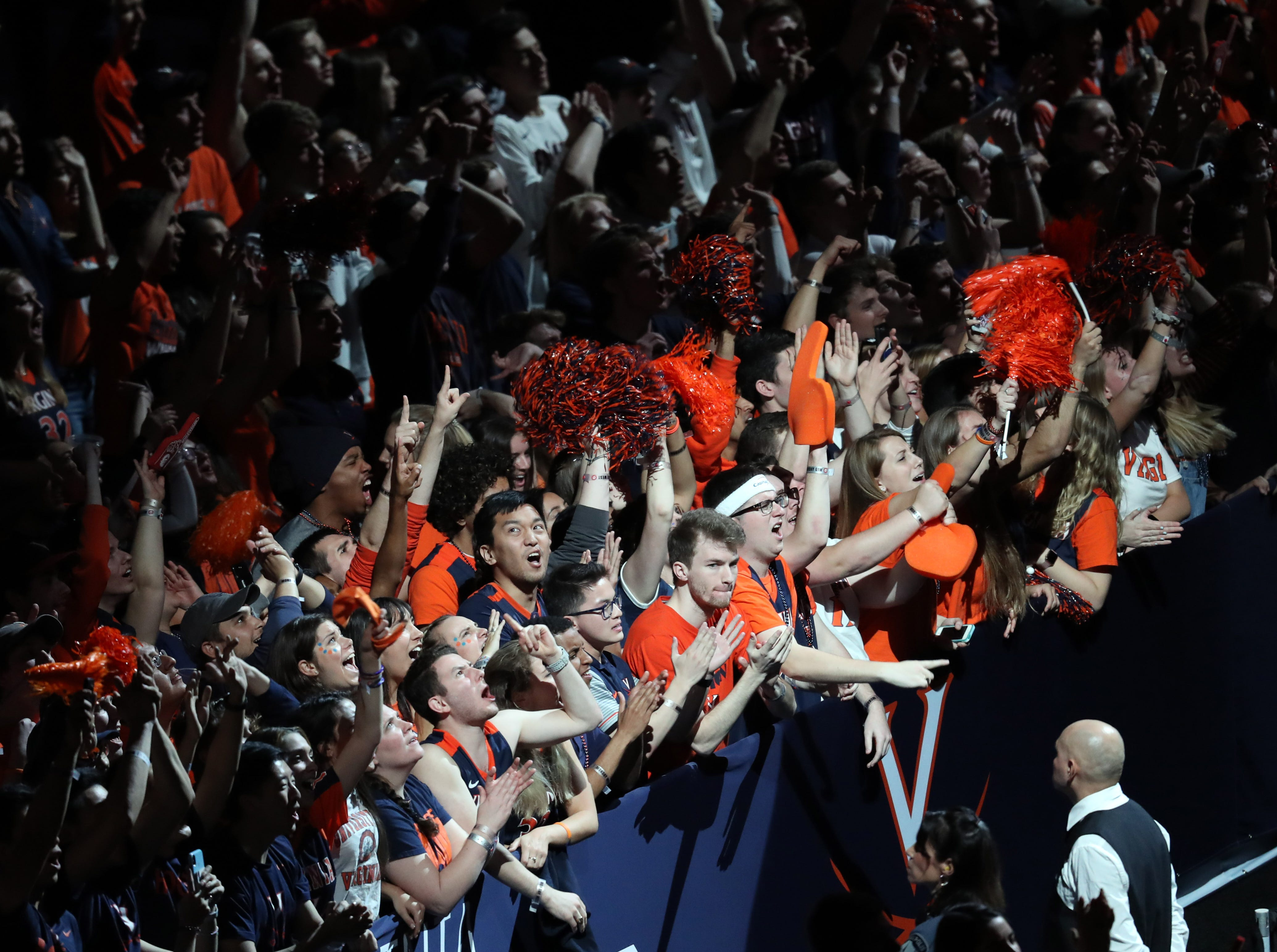 Apr 8, 2019; Minneapolis, MN, USA; Virginia Cavaliers fans cheer before the championship game of the 2019 men's Final Four against the Texas Tech Red Raiders at US Bank Stadium. Mandatory Credit: Brace Hemmelgarn-USA TODAY Sports