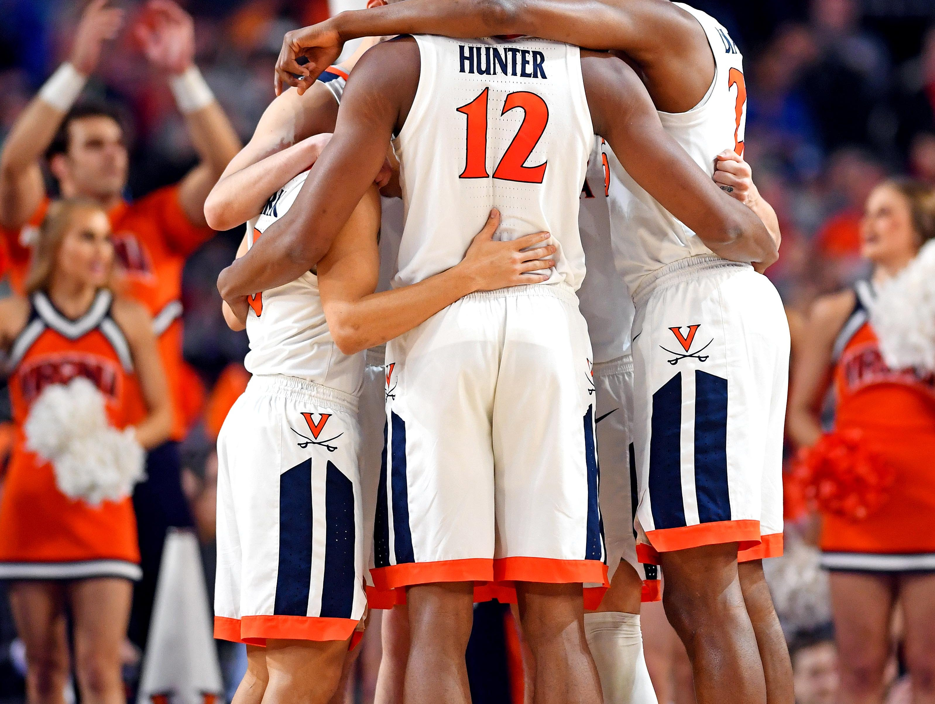 Apr 8, 2019; Minneapolis, MN, USA; The Virginia Cavaliers huddle before the game against the Texas Tech Red Raiders in the championship game of the 2019 men's Final Four at US Bank Stadium. Mandatory Credit: Bob Donnan-USA TODAY Sports