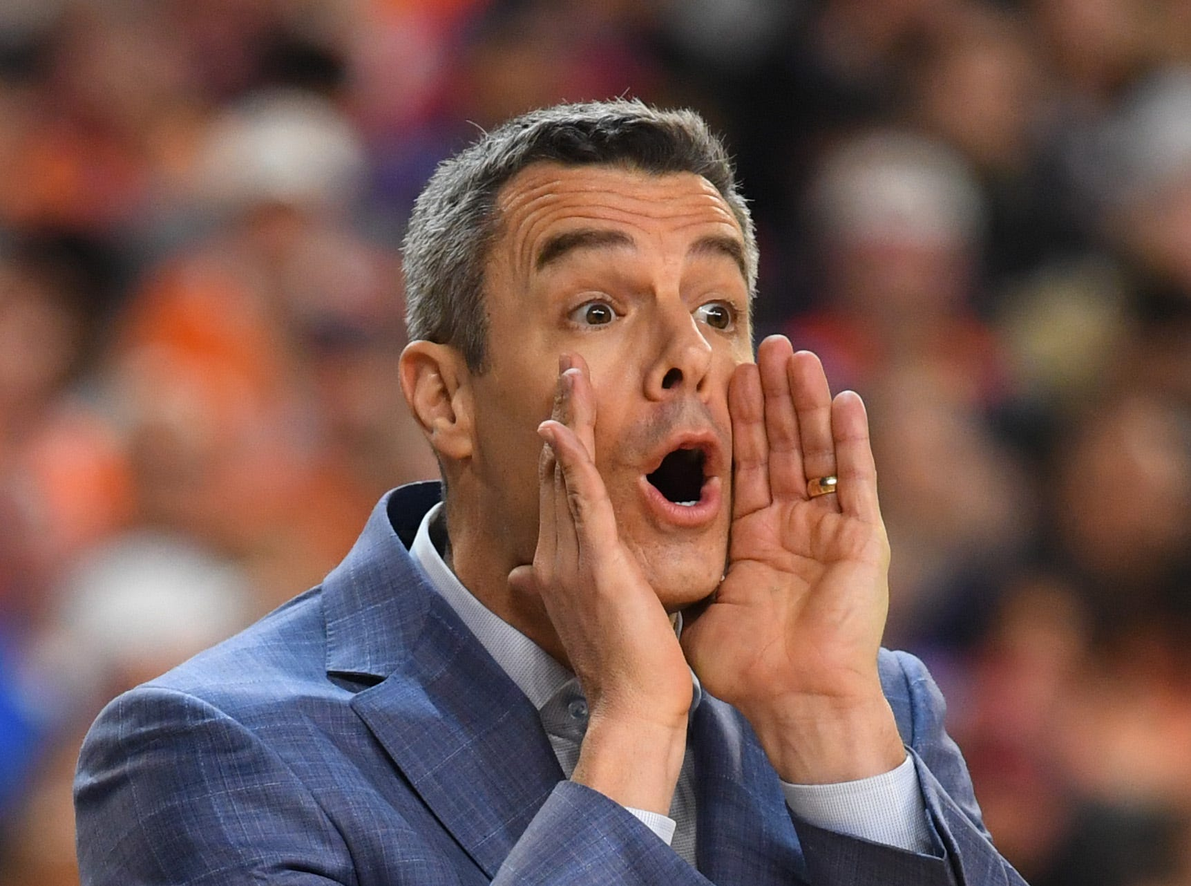 Apr 8, 2019; Minneapolis, MN, USA; Virginia Cavaliers head coach Tony Bennett yells from the sideline against the Texas Tech Red Raiders in the championship game of the 2019 men's Final Four at US Bank Stadium. Mandatory Credit: Robert Deutsch-USA TODAY Sports