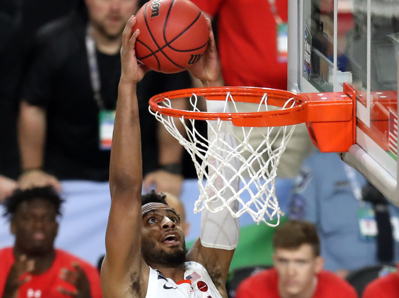 Apr 8, 2019; Minneapolis, MN, USA; Virginia Cavaliers guard Braxton Key (2) dunks the ball against the Texas Tech Red Raiders during the first half in the championship game of the 2019 men's Final Four at US Bank Stadium. Mandatory Credit: Brace Hemmelgarn-USA TODAY Sports