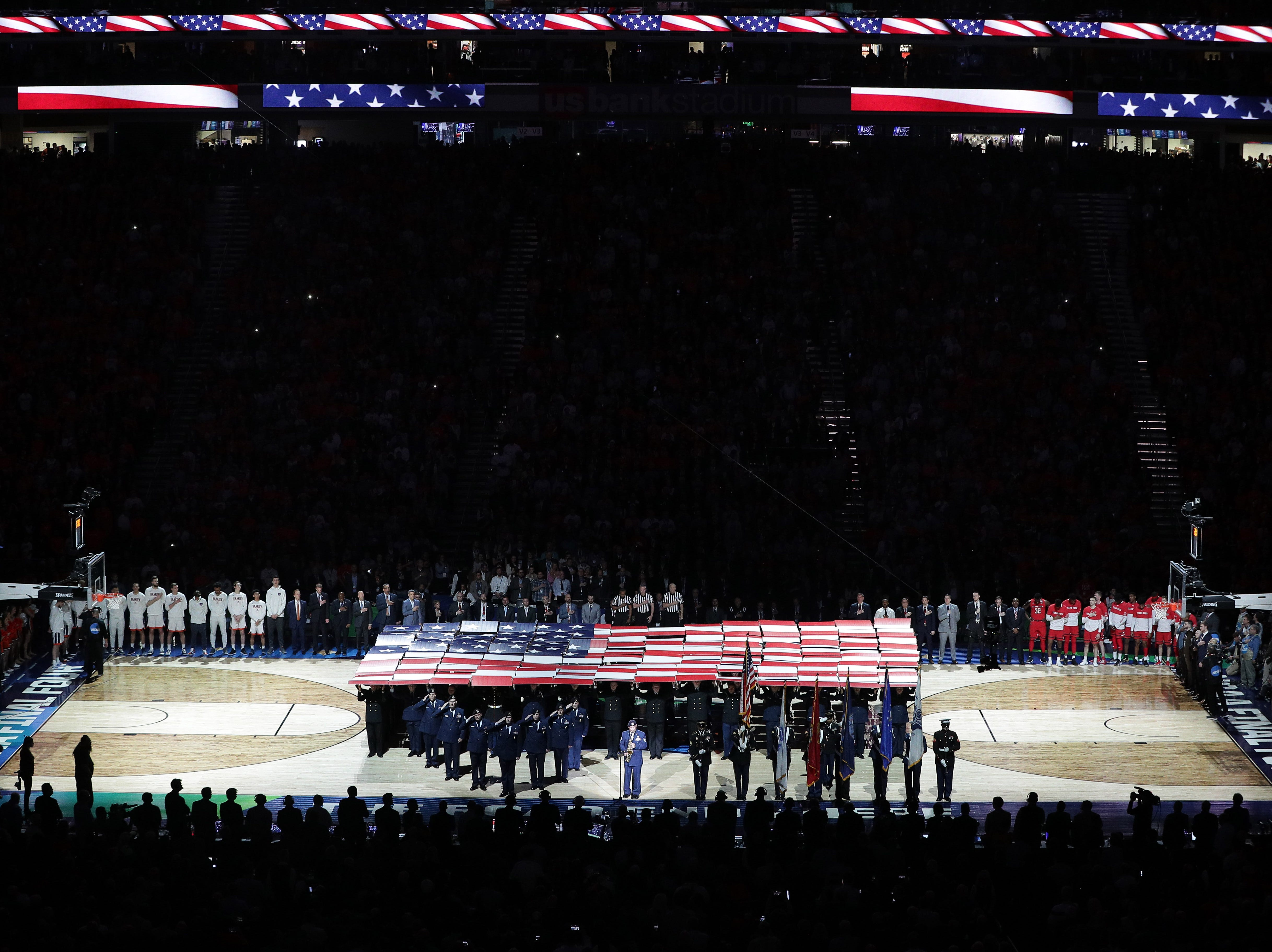 Apr 8, 2019; Minneapolis, MN, USA; A general view of US Bank Stadium during the national anthem in the championship game of the 2019 men's Final Four between the Virginia Cavaliers and the Texas Tech Red Raiders. Mandatory Credit: Brace Hemmelgarn-USA TODAY Sports