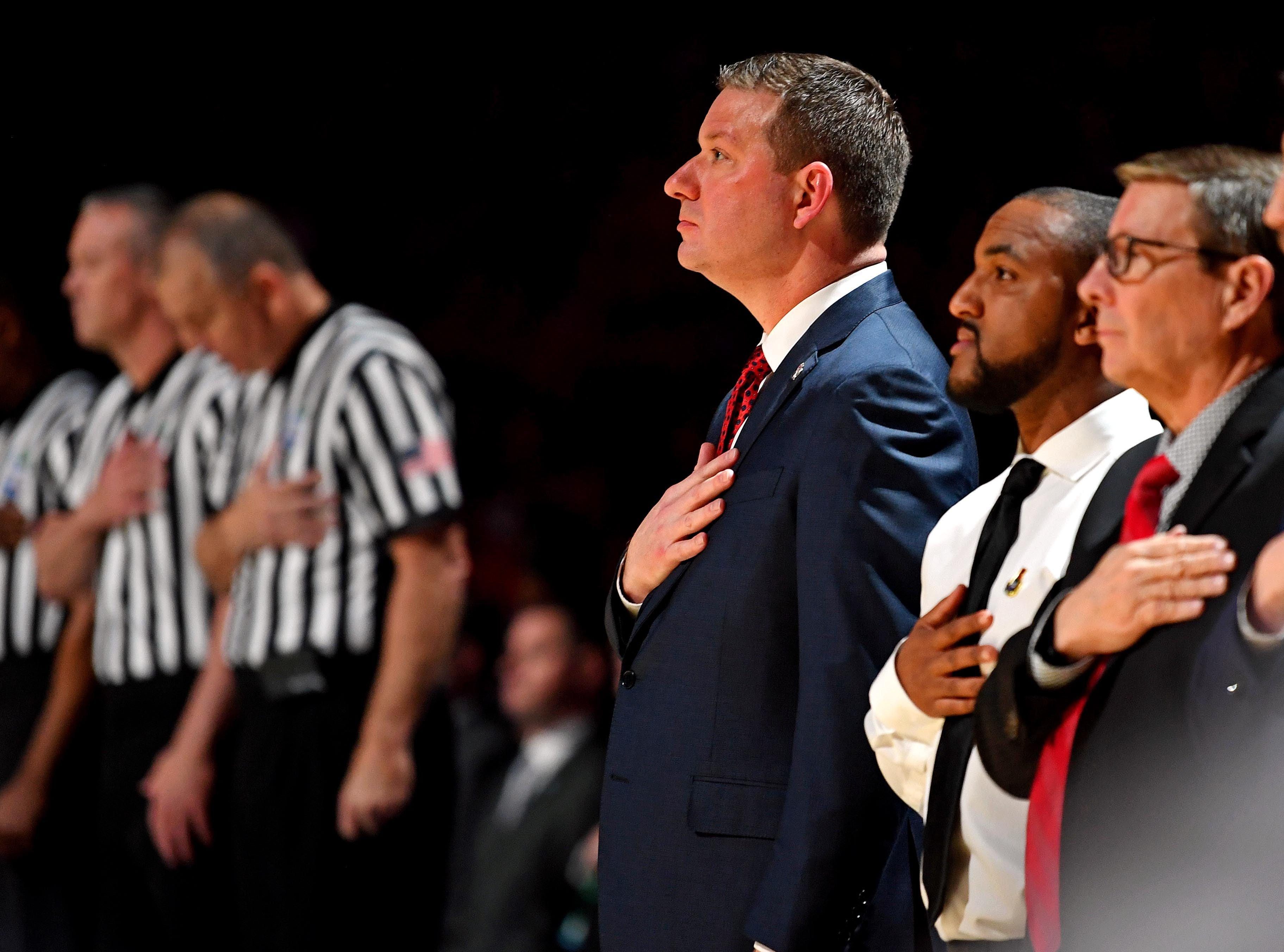 Apr 8, 2019; Minneapolis, MN, USA; Texas Tech Red Raiders head coach Chris Beard stands for the national anthem before the game against the Virginia Cavaliers in the championship game of the 2019 men's Final Four at US Bank Stadium. Mandatory Credit: Bob Donnan-USA TODAY Sports