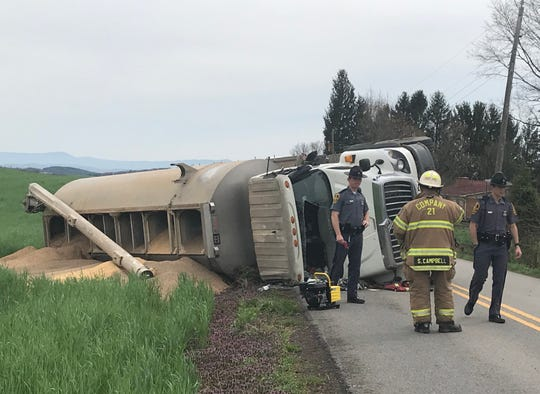 A truck driver was injured Tuesday in a crash on Freemason Run Road in Mount Solon.